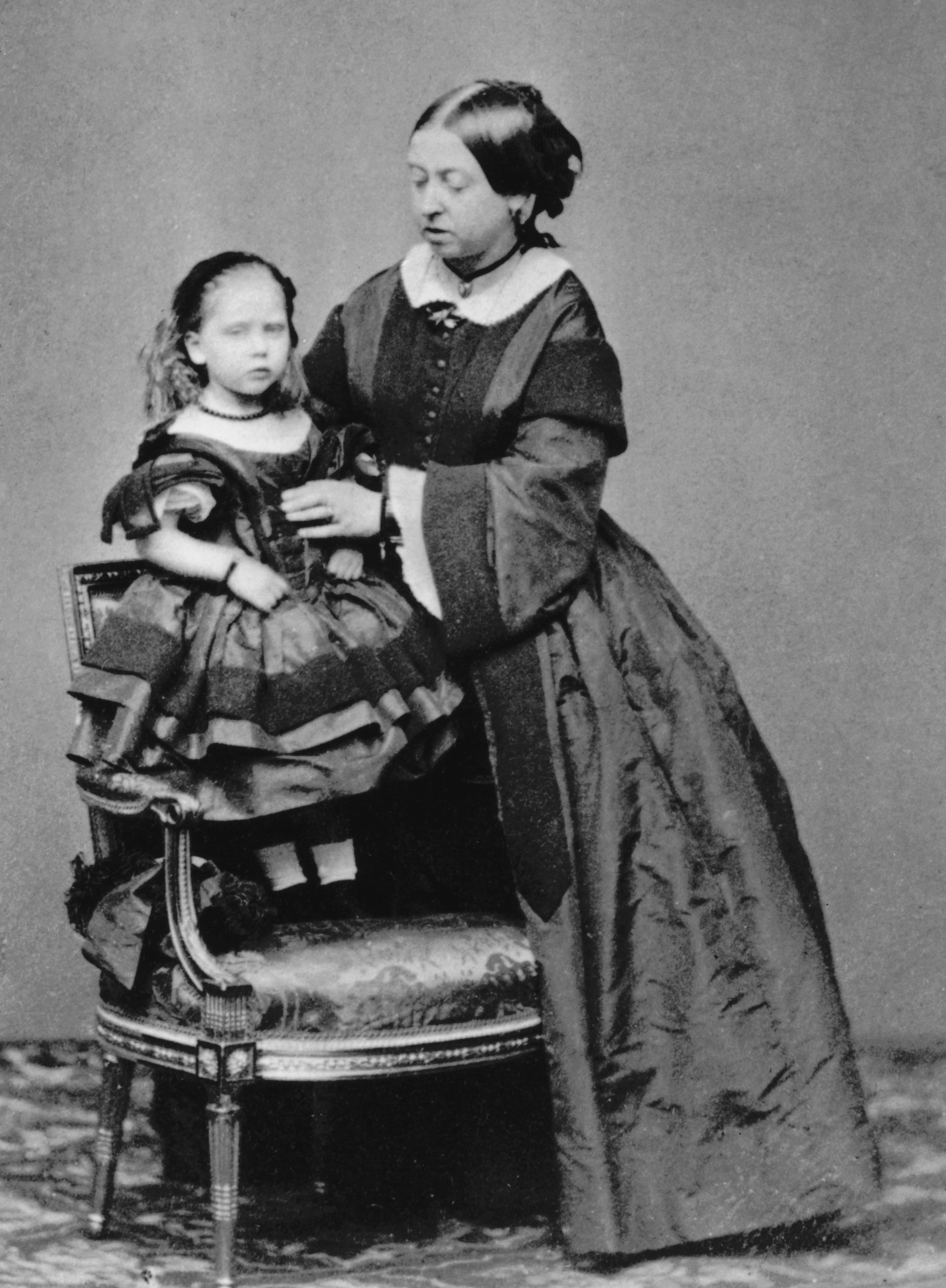 Princess Beatrice with Queen Victoria in 1860 (Hulton Archive/Getty)