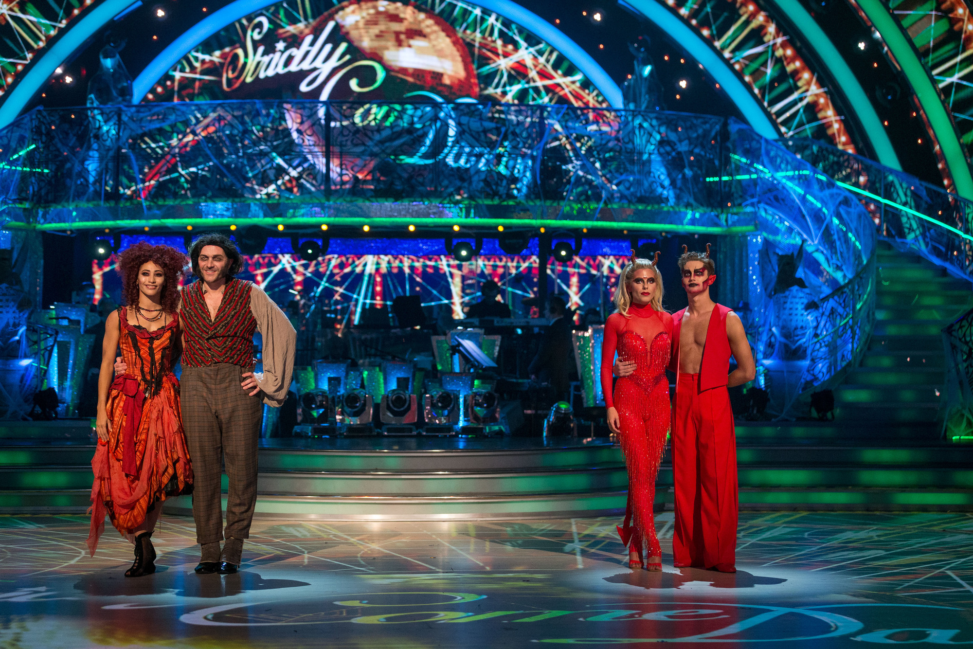 WARNING: Embargoed for publication until 20:00:01 on 29/10/2017 - Programme Name: Strictly Come Dancing 2017 - TX: 29/10/2017 - Episode: Strictly Come Dancing 2017 - TX 6 RESULTS SHOW (No. n/a) - Picture Shows: **RESULTS SHOW - STRICTLY EMBARGOED FOR PUBLICATION UNTIL 20:00 HRS ON SUNDAY 29TH OCTOBER 2017**  The bottom two couples Karen Clifton, Simon Rider, Mollie King, AJ Pritchard - (C) BBC - Photographer: Guy Levy