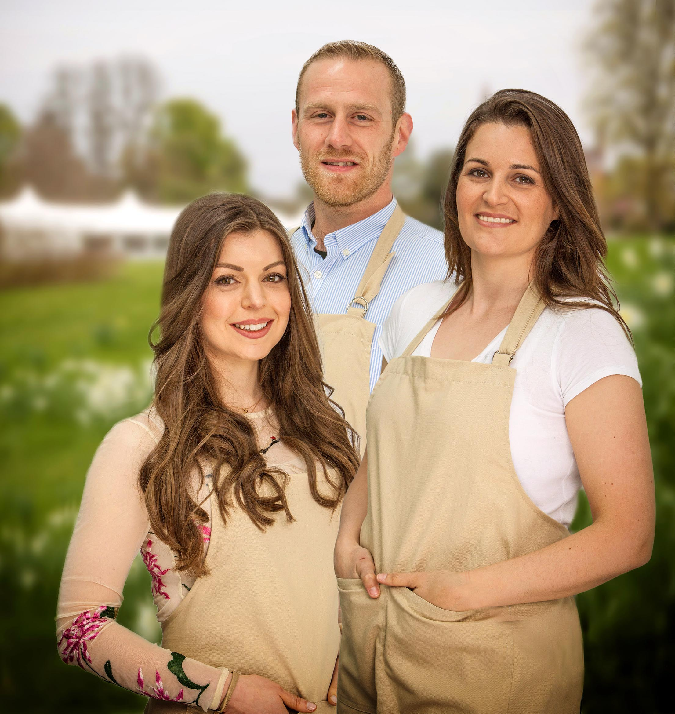 Bake Off 2017 finalists Kate, Steven and Sophie (Channel 4, JG)