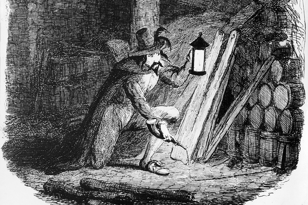 Guy Fawkes attempts to plant gunpowder in the cellar of the Palace of Westminster, 5th November 1605. Engraved by George Cruikshank. (Getty, HF)