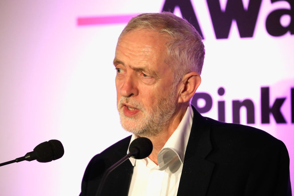LONDON, ENGLAND - OCTOBER 18:  Labour Party Leader Jeremy Corbyn speaks on stage at the Pink News Awards 2017 held at One Great George Street on October 18, 2017 in London, England.  (Getty, BA)