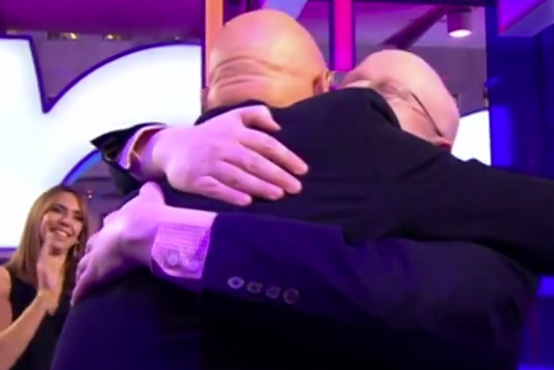 Matt Lucas and Duncan Goodhew hugging on The One Show