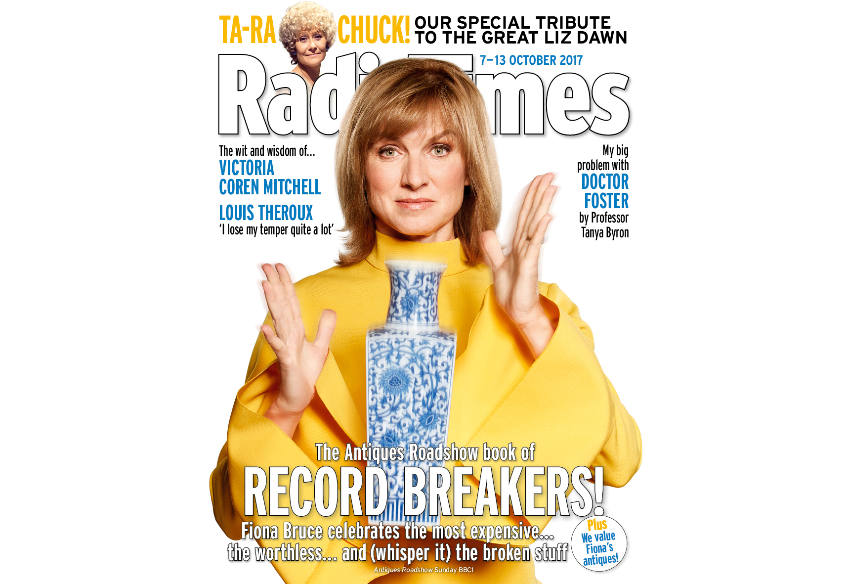Antiques Roadshow presenter Fiona Bruce on the cover of this week's Radio Times