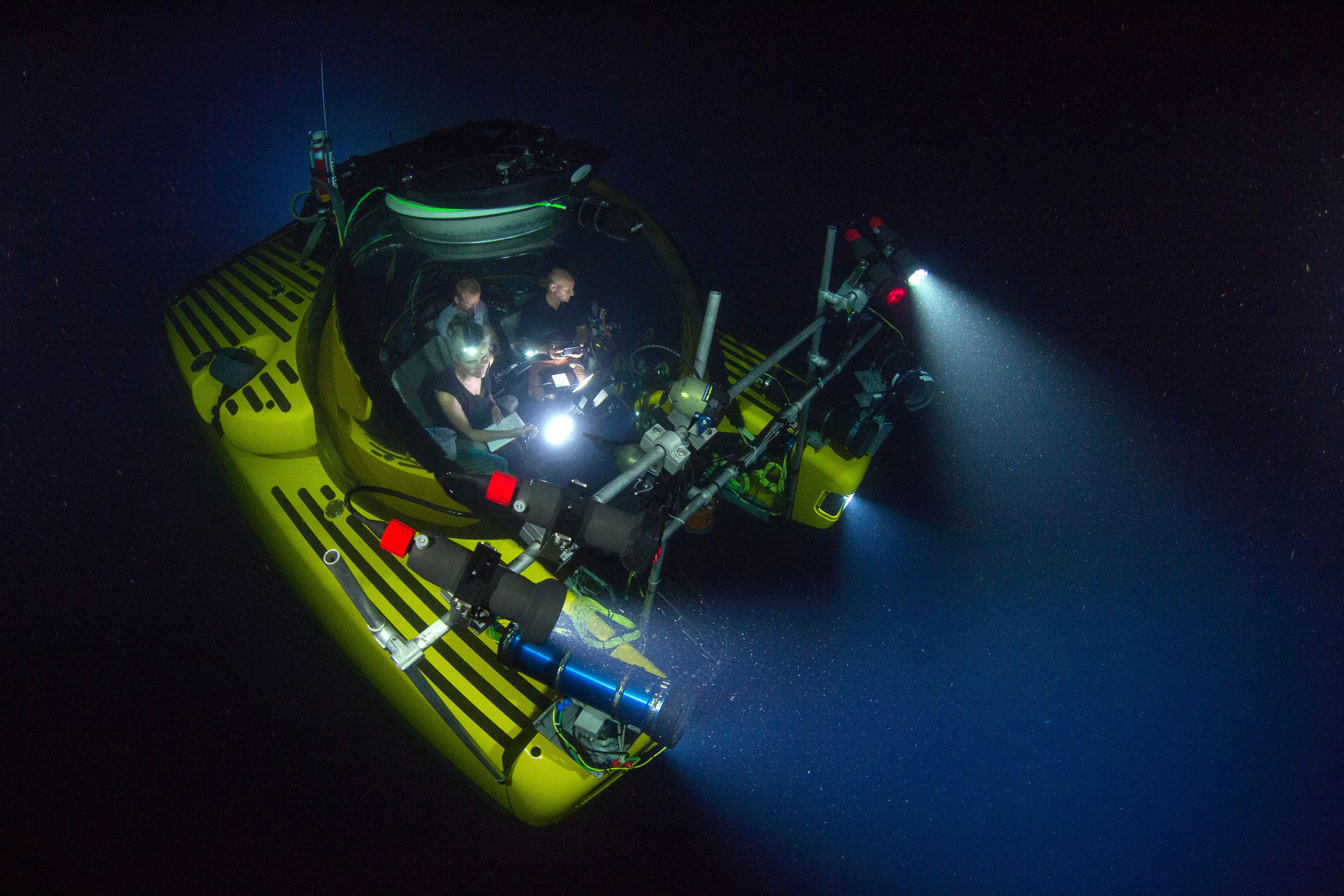 The three-man submersible 'Nadir'. The Blue Planet II team worked with several submarines to film the Deep episode, spending a thousand hours in them across the world's deep oceans to capture landscapes and behaviours never seen before. (BBC, TL)