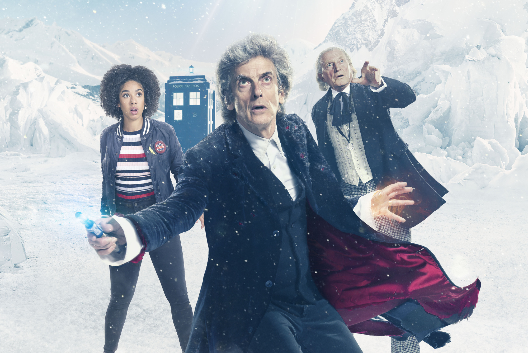 Pearl Mackie, Peter Capaldi and David Bradley in the Doctor Who Christmas special