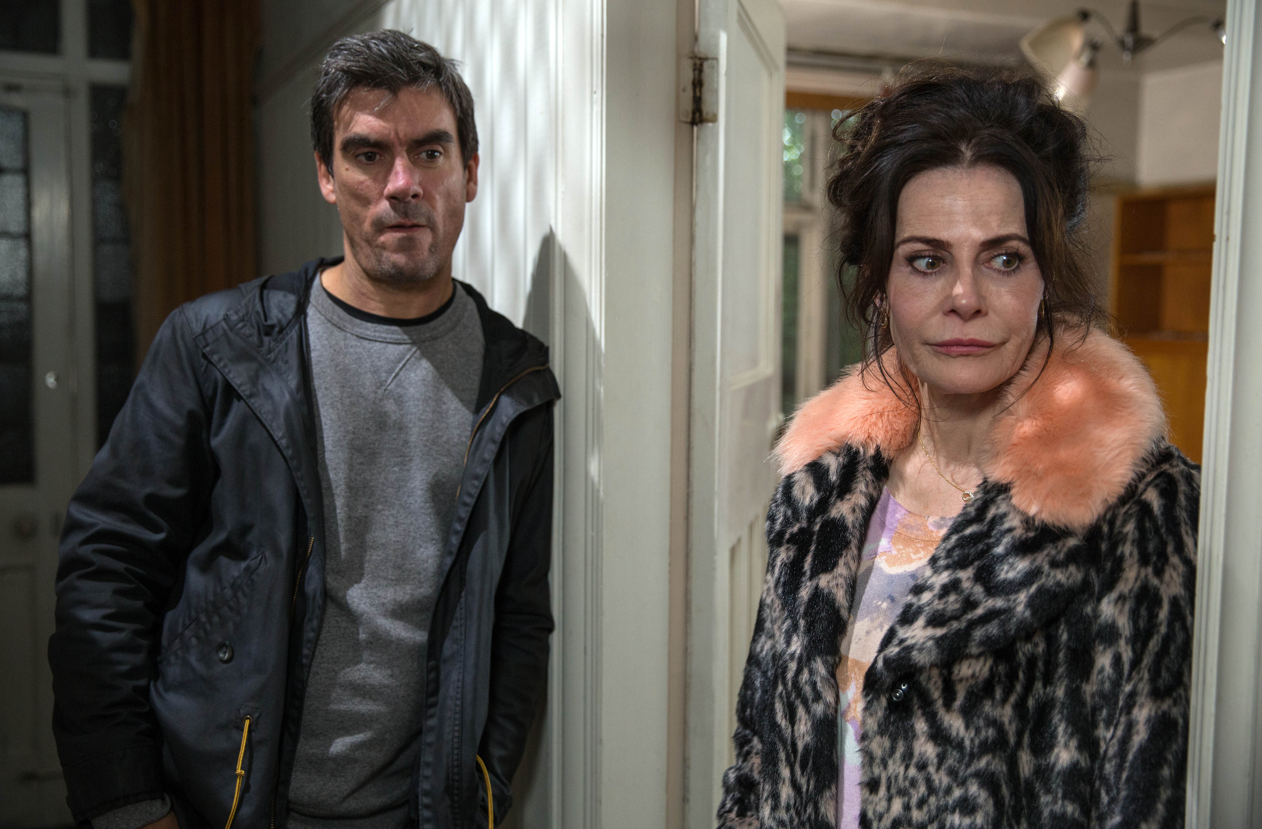 FROM ITV   STRICT EMBARGO  Print media - No Use Before Tuesday 7th November 2017 Online Media -  No Use Before Tuesday 7th November 2017  Emmerdale - Ep 7992  Friday 17th November 2017  Cain Dingle [JEFF HORDLEY] is worried when Faith Dingle [SALLY DEXTER] turns up at the garage saying something's wrong with Moira. He gets in the car with her but quickly realises he's been duped when she drives them back to his childhood home. A flood of unhappy memories return giving Cain food for thought about Isaac. Will he also get a newfound respect for his mum or will past memories be too much? Tonight we get a glimpse into Cain's childhood  Picture contact - david.crook@itv.com  Photographer - Amy Brammall  This photograph is (C) ITV Plc and can only be reproduced for editorial purposes directly in connection with the programme or event mentioned above, or ITV plc. Once made available by ITV plc Picture Desk, this photograph can be reproduced once only up until the transmission [TX] date and no reproduction fee will be charged. Any subsequent usage may incur a fee. This photograph must not be manipulated [excluding basic cropping] in a manner which alters the visual appearance of the person photographed deemed detrimental or inappropriate by ITV plc Picture Desk. This photograph must not be syndicated to any other company, publication or website, or permanently archived, without the express written permission of ITV Plc Picture Desk. Full Terms and conditions are available on the website www.itvpictures.com