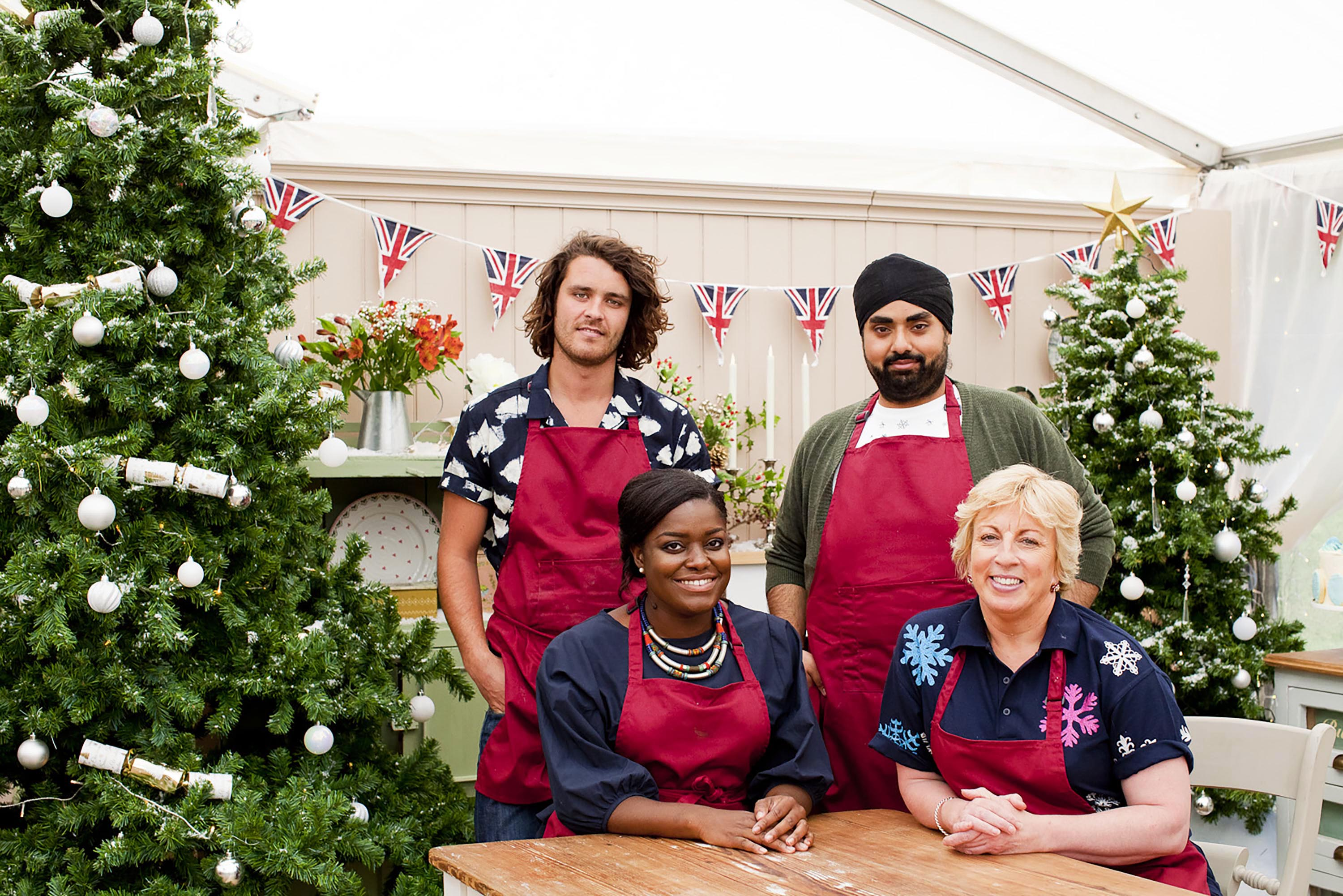 The Great British Bake Off Christmas Special - Left to Right: Rob and Rav standing, Benjamina and Sndi sitting.