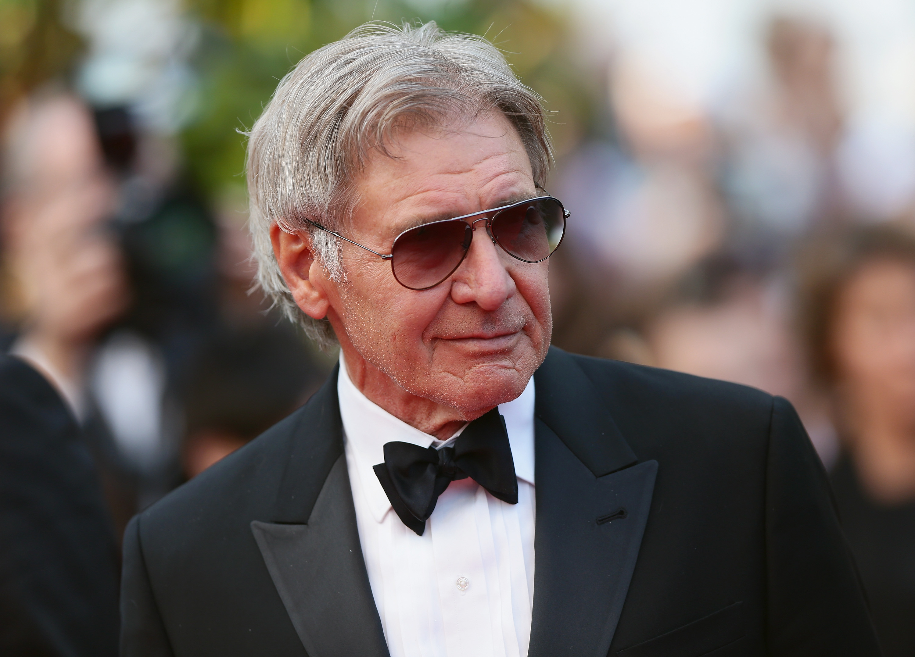 "CANNES, FRANCE - MAY 18:  Harrison Ford attends ""The Expendables 3"" premiere during the 67th Annual Cannes Film Festival on May 18, 2014 in Cannes, France.  (Photo by Vittorio Zunino Celotto/Getty Images)"