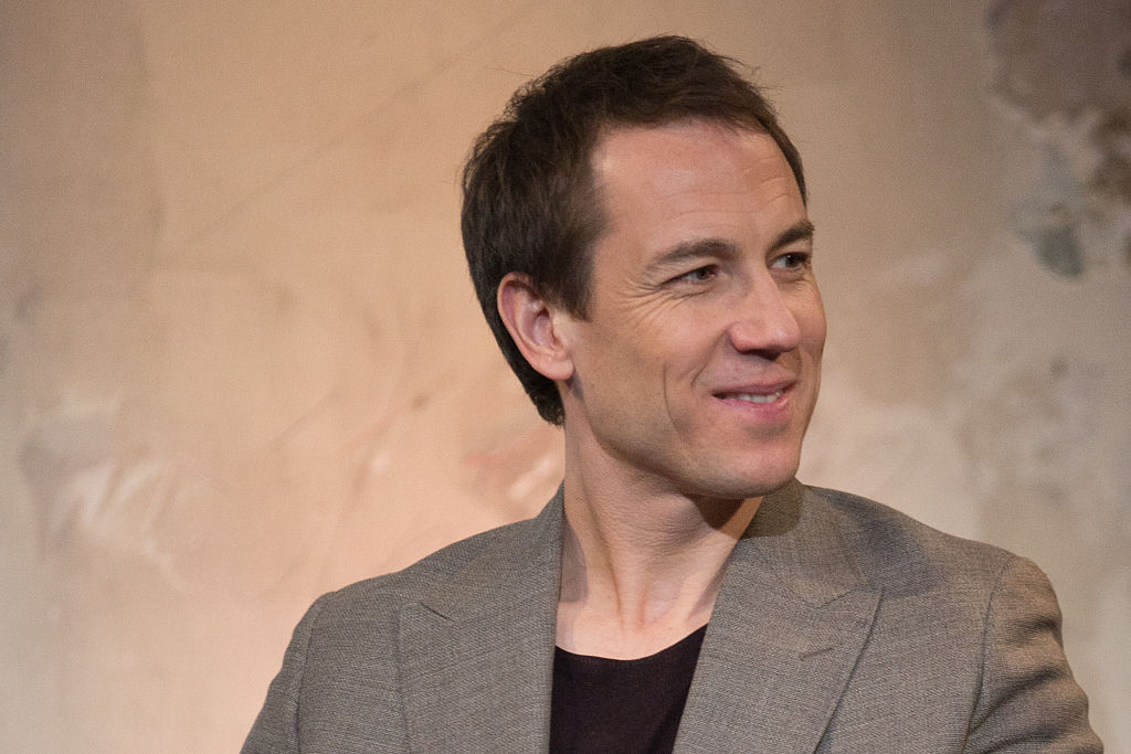 """NEW YORK, NEW YORK - APRIL 07: Tobias Menzies discusses """"Outlander"""" at AOL Studios In New York on April 7, 2016 in New York City. (Photo by Adela Loconte/WireImage, BA)"""