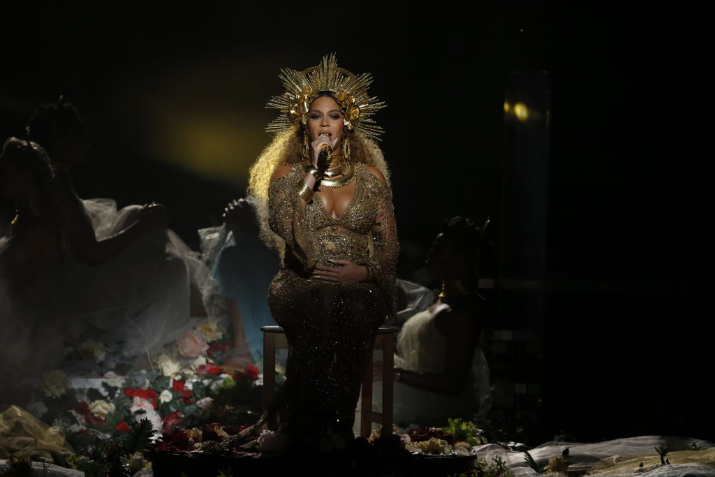 LOS ANGELES - FEBRUARY 12: Beyonce performs during THE 59TH ANNUAL GRAMMY AWARDS, broadcast live from the STAPLES Center in Los Angeles, Sunday, Feb. 12 (8:00-11:30 PM, live ET/5:00-8:30 PM, live PT; 6:00-9:30 PM, live MT) on the CBS Television Network. (Photo by Monty Brinton/CBS via Getty Images, BA)