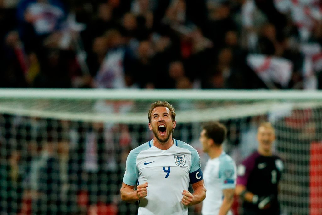 England's striker Harry Kane celebrates their 1-0 victory at the fulltime whistle during the FIFA World Cup 2018 qualification football match between England and Slovenia at Wembley Stadium in London on October 5, 2017.  / AFP PHOTO / Adrian DENNIS / NOT FOR MARKETING OR ADVERTISING USE / RESTRICTED TO EDITORIAL USE        (Photo credit should read ADRIAN DENNIS/AFP/Getty Images, BA)