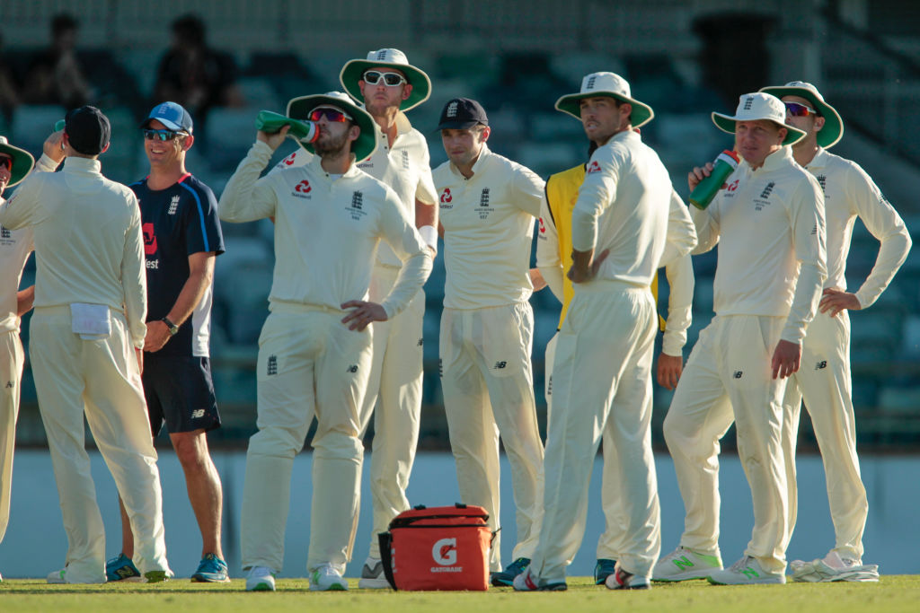 November 5th 2017, WACA Ground, Perth Australia; International cricket tour, Western Australia versus England, day 2; England players watch themselves in an Ashes promo on the big screene late on day two (Photo by David Woodley/Action Plus via Getty Images, BA)