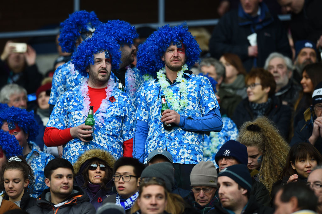 Scotland's supporters wait for the start of the autumn international rugby union test match between Scotland and Samoa at Murrayfield stadium in Edinburgh on November 11, 2017. / AFP PHOTO / ANDY BUCHANAN (Photo credit should read ANDY BUCHANAN/AFP/Getty Images, BA)