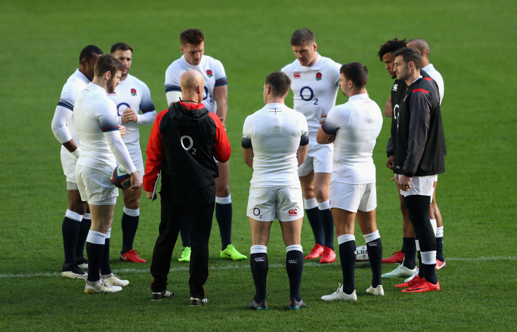 LONDON, ENGLAND - NOVEMBER 17: The England backs gather during the England captain's run at Twickenham Stadium on November 17, 2017 in London, England. (Photo by David Rogers/Getty Images, BA)