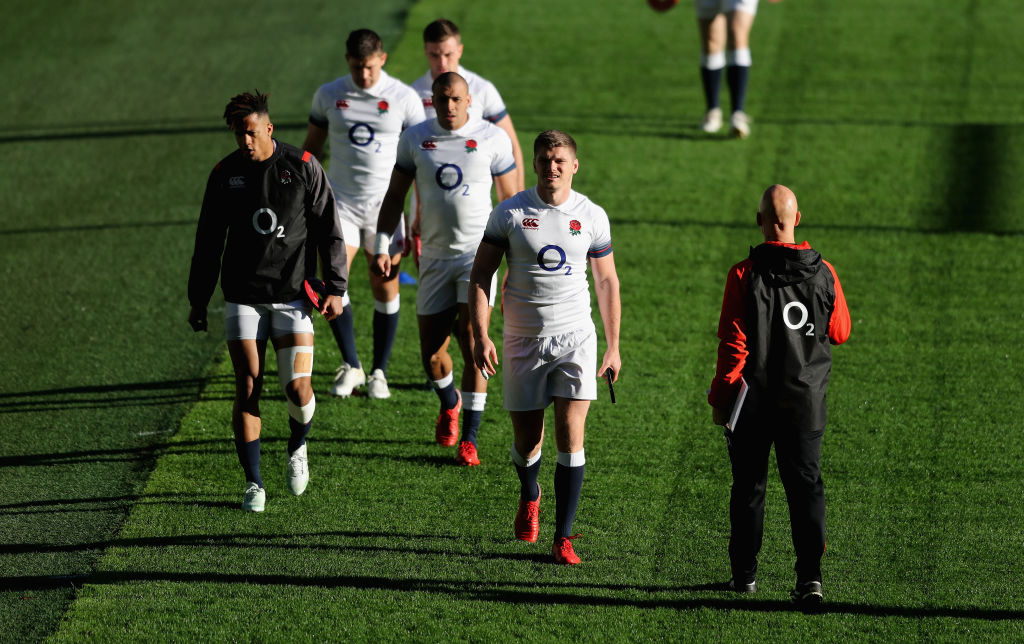 LONDON, ENGLAND - NOVEMBER 17:  Owen Farrell leads the line during the England captain's run at Twickenham Stadium on November 17, 2017 in London, England.  (Photo by David Rogers/Getty Images, BA)