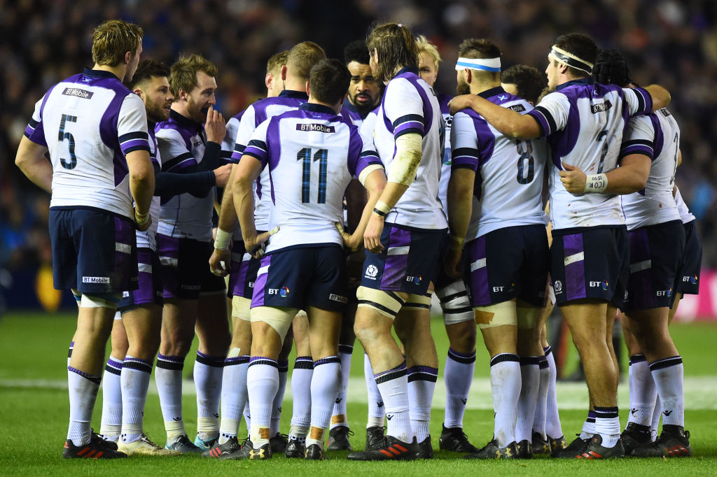 Scotland players discuss during the international rugby union test match between Scotland and New Zealand at Murrayfield stadium in Edinburgh on November 18, 2017. / AFP PHOTO / ANDY BUCHANAN        (Photo credit should read ANDY BUCHANAN/AFP/Getty Images, BA)