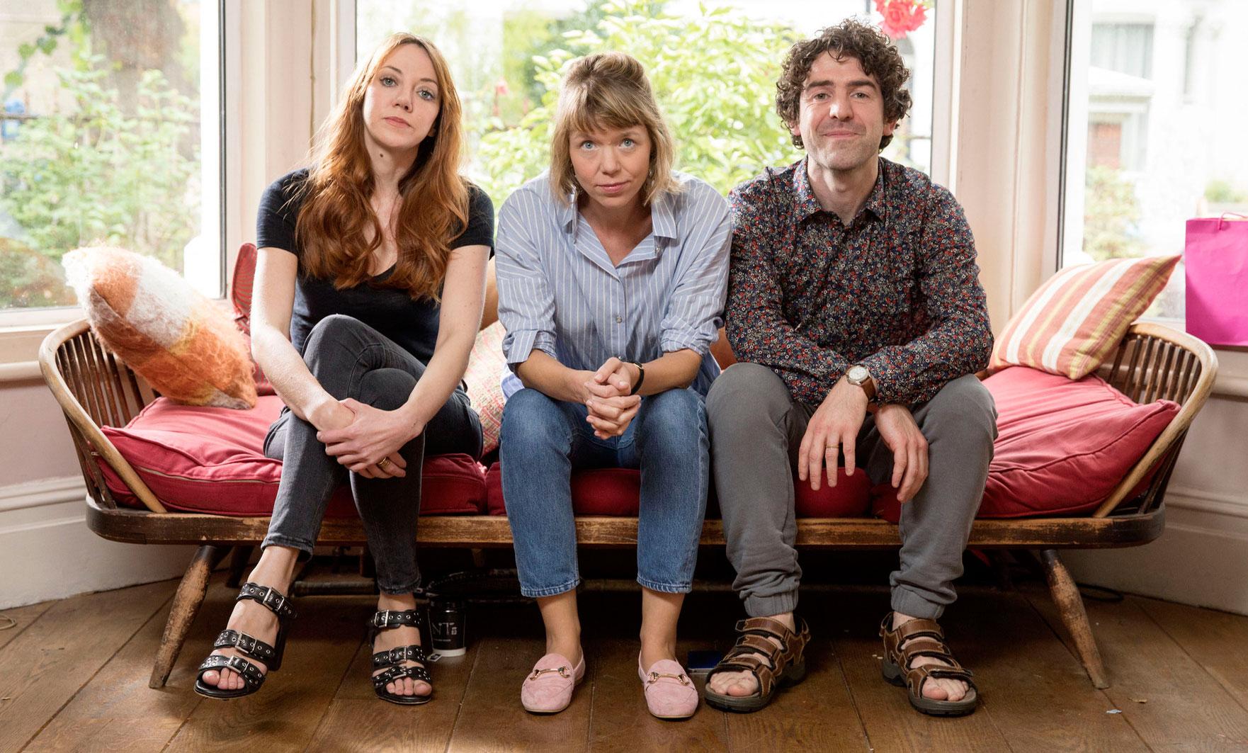 Liz (Diane Morgan), Julia (Anna Maxwell-Martin), Kevin (Paul Ready) in motherland (BBC, TL)