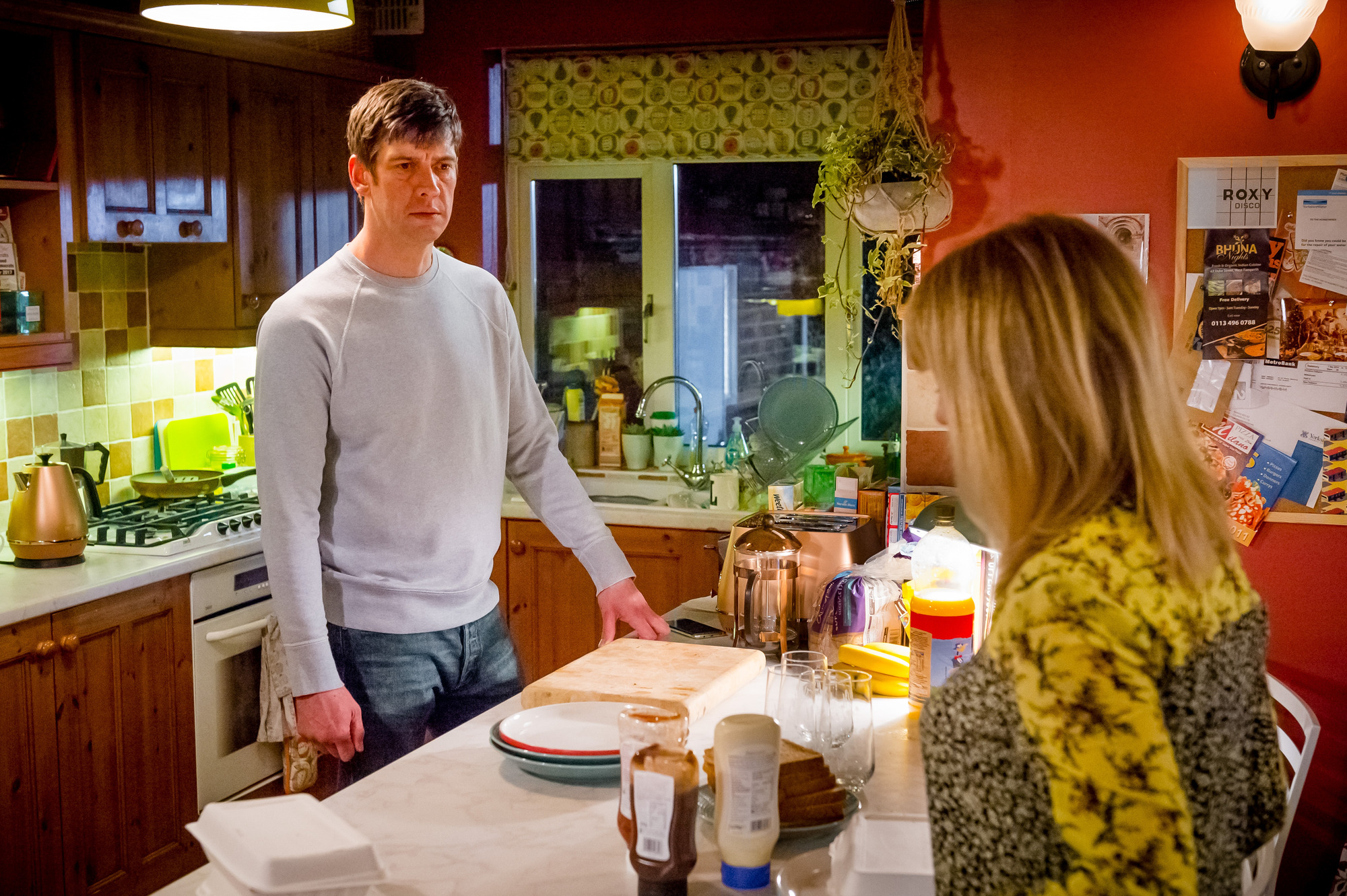 Programme Name: Love, Lies & Records - TX: n/a - Episode: n/a (No. 2) - Picture Shows: L-R Rob (ADRIAN BOWER), Kate (ASHLEY JENSEN) - (C) Rollem Productions - Photographer: Ben Blackall