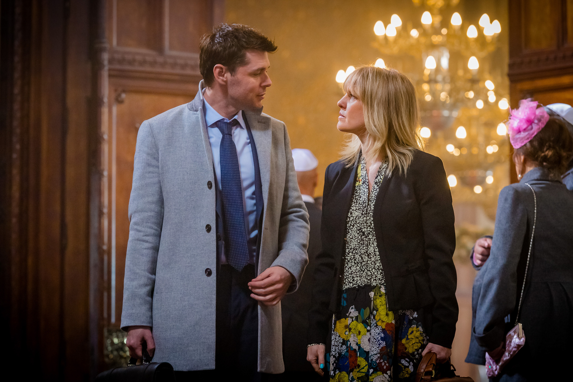 Programme Name: Love, Lies & Records - TX: n/a - Episode: n/a (No. 2) - Picture Shows: L-R Rick (KENNY DOUGHTY), Kate (ASHLEY JENSEN) - (C) Rollem Productions - Photographer: Ben Blackall