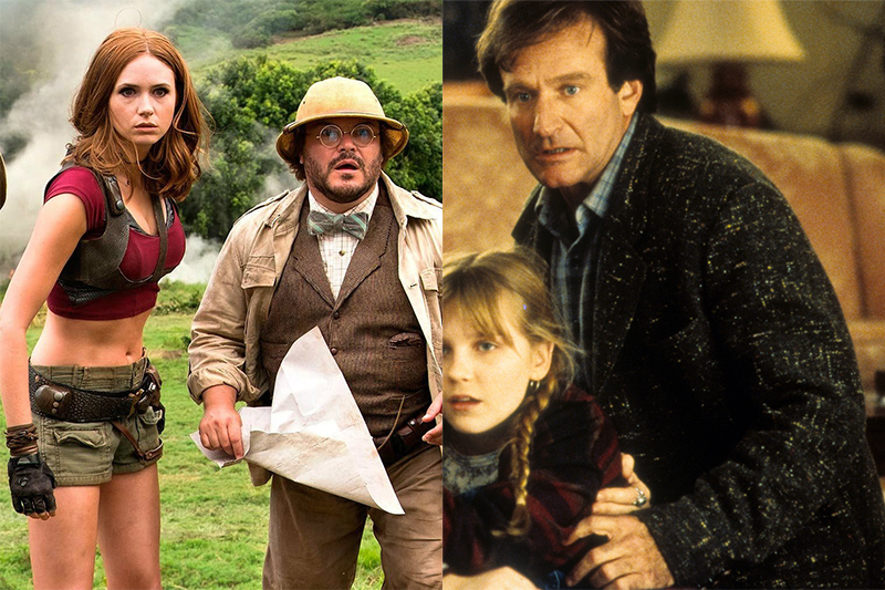 Karen Gilland and Jack Black in Jumanji: Welcome to the Jungle; Robin Williams and Kirsten Dunst in the original Jumanji (Sony, Getty, HF)