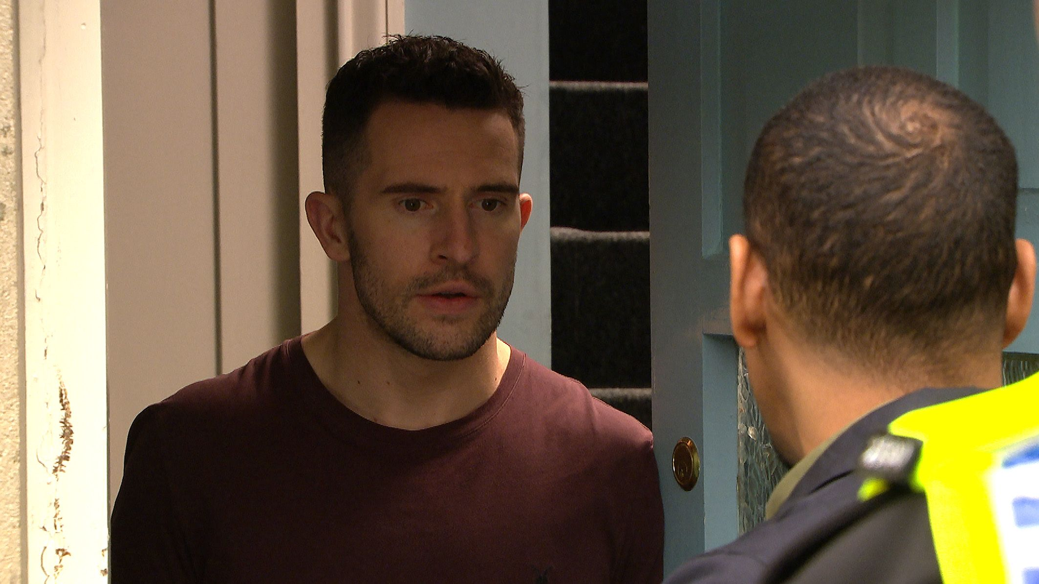 FROM ITV   STRICT EMBARGO  Print media - No Use Before Tuesday 5 December 2017 Online Media -  No Use Before Tuesday 5 December 2017  Emmerdale - Ep 8012  Tuesday 12th December 2017   The police present Ross Barton [MICHAEL PARR] with a warrant to search the house but will they find what they are looking for and will Adam forgive Victoria?  Picture contact - david.crook@itv.com  This photograph is (C) ITV Plc and can only be reproduced for editorial purposes directly in connection with the programme or event mentioned above, or ITV plc. Once made available by ITV plc Picture Desk, this photograph can be reproduced once only up until the transmission [TX] date and no reproduction fee will be charged. Any subsequent usage may incur a fee. This photograph must not be manipulated [excluding basic cropping] in a manner which alters the visual appearance of the person photographed deemed detrimental or inappropriate by ITV plc Picture Desk. This photograph must not be syndicated to any other company, publication or website, or permanently archived, without the express written permission of ITV Plc Picture Desk. Full Terms and conditions are available on the website www.itvpictures.com