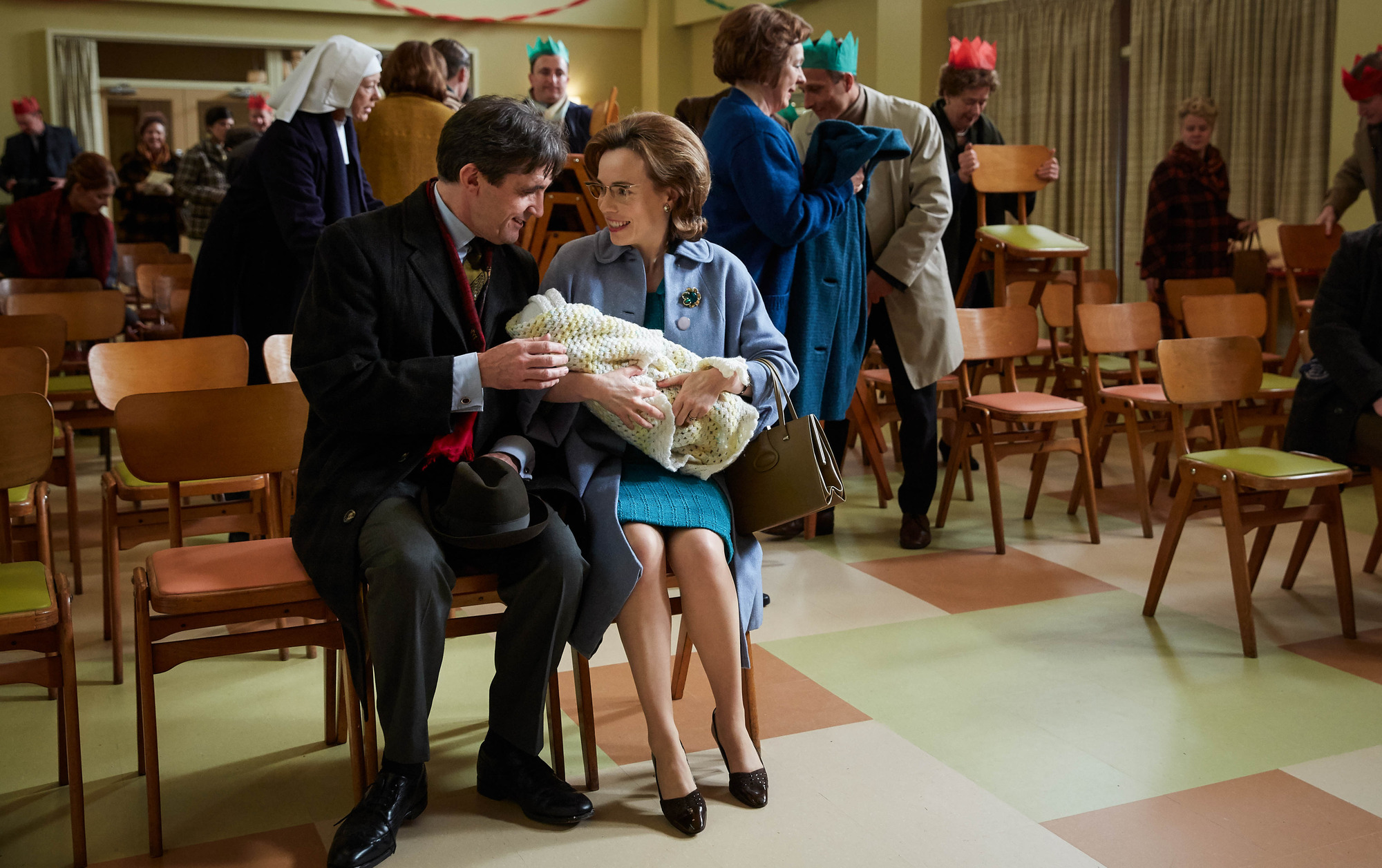 WARNING: Embargoed for publication until 00:00:01 on 09/12/2017 - Programme Name: Call the Midwife S7 - TX: 25/12/2017 - Episode: n/a (No. n/a) - Picture Shows: +++EMBARGOED UNTIL SATURDAY DECEMBER 9TH, 2017+++ Dr Turner (STEPHEN McGANN), Shelagh (LAURA MAIN) - (C) Neal Street Productions - Photographer: Sophie Mutevelian (BBC, TL)
