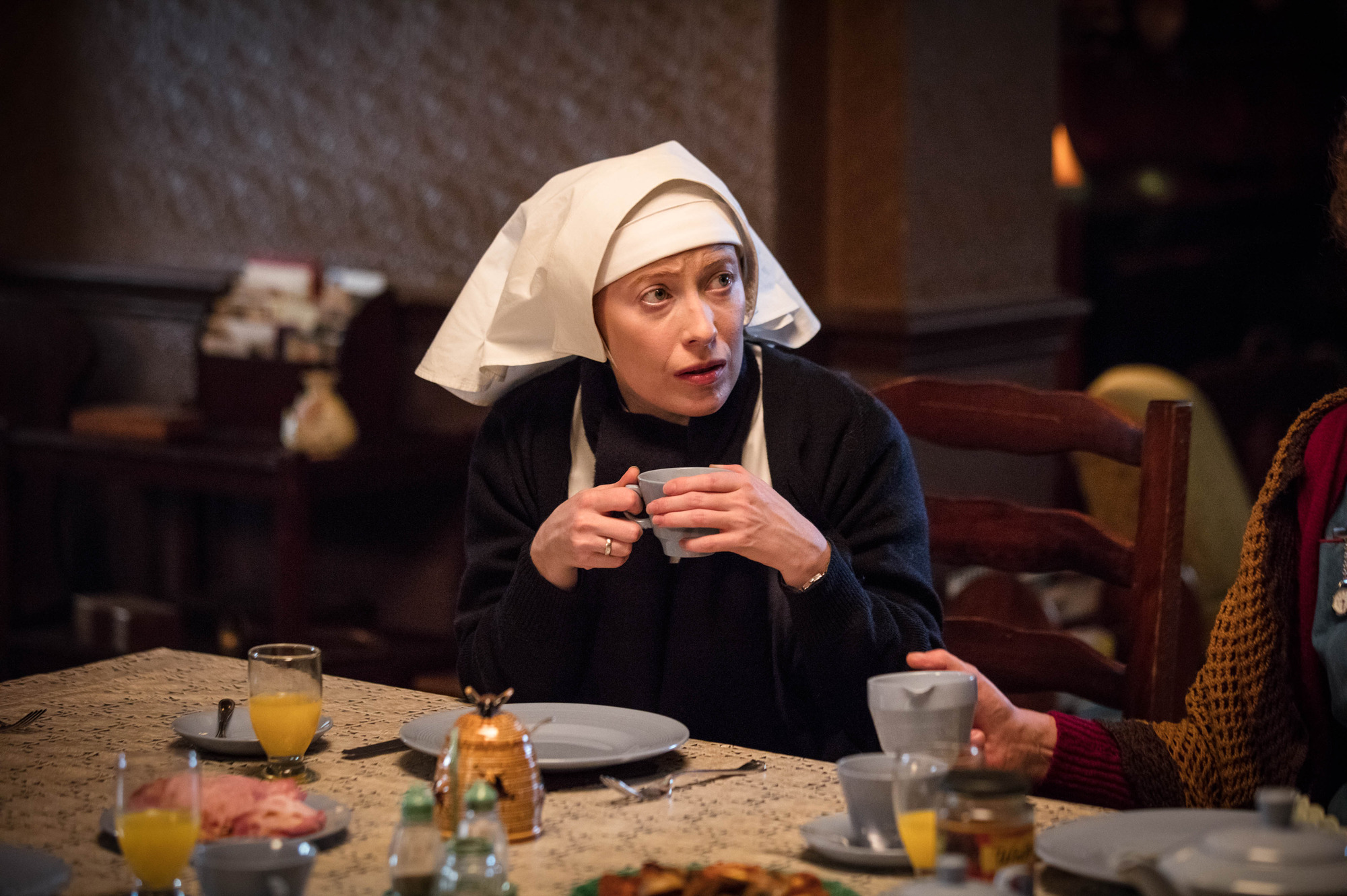 Sister Winifred (Victoria Yeates) in the 2017 Call the Midwife Christmas special (BBC Pictures, JG)