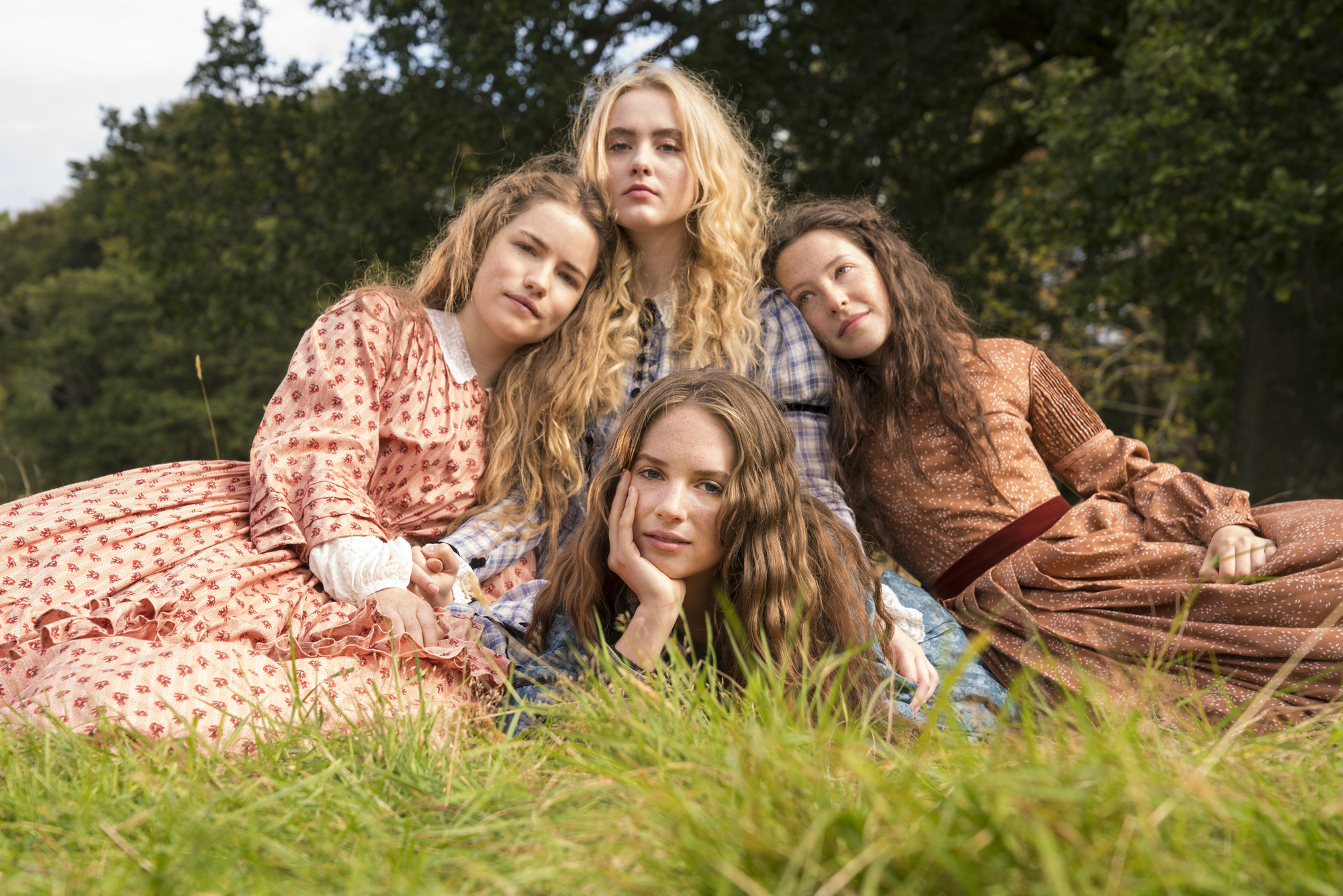 WARNING: Embargoed for publication until 00:00:01 on 09/12/2017 - Programme Name: Little Women - TX: 26/12/2017 - Episode: n/a (No. n/a) - Picture Shows: +++EMBARGOED UNTIL 00.01 HOURS SATURDAY DECEMBER 9TH, 2017+++ Meg March (WILLA FITZGERALD), Amy March (KATHRYN NEWTON), Jo March (MAYA HAWKE), Beth March (ANNES ELWY) - (C) Playground - Photographer: Patrick Redmond (BBC, TL)