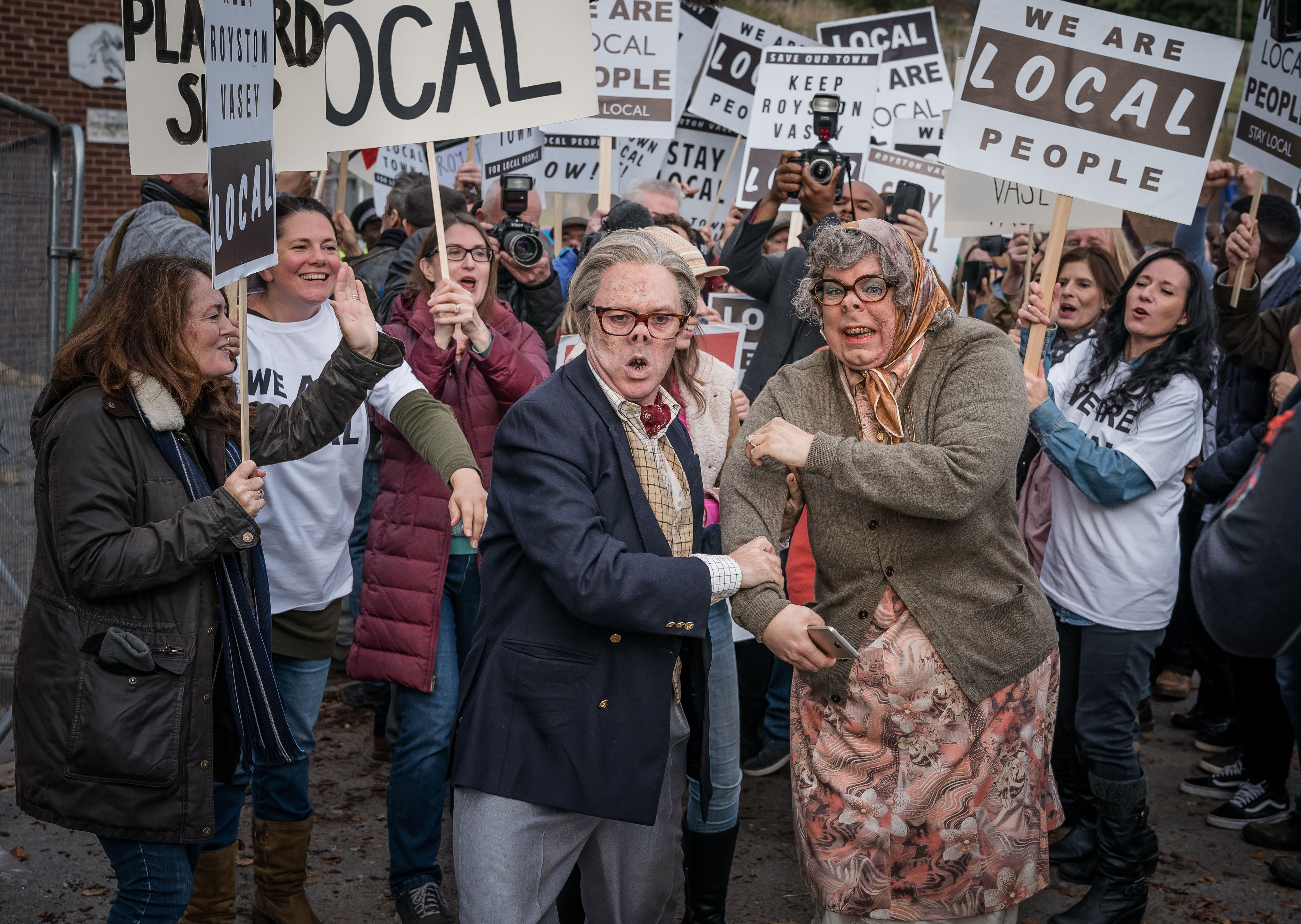 Programme Name: The League of Gentlemen Anniversary Specials - TX: n/a - Episode: n/a (No. 3) - Picture Shows:  Edward (REECE SHEARSMITH), Tubbs (STEVE PEMBERTON), Supporting Artists - (C) BBC - Photographer: Ben Blackall
