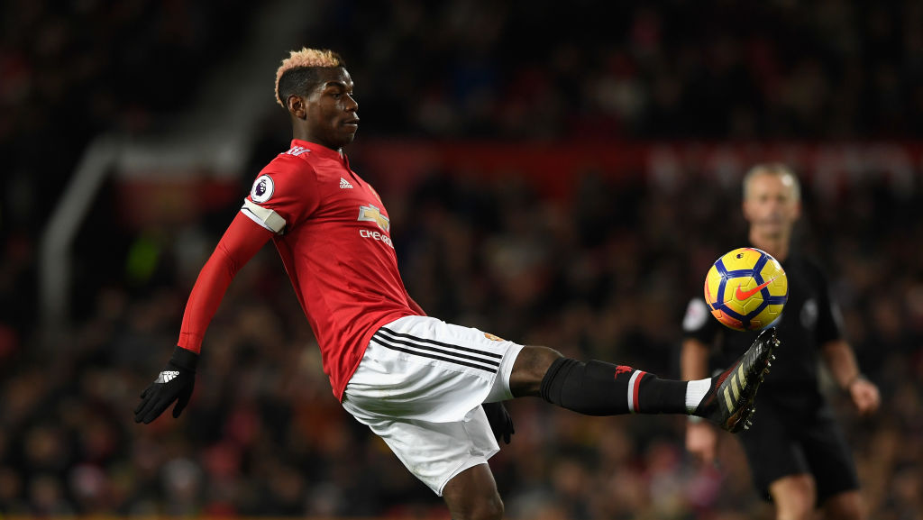 MANCHESTER, ENGLAND - DECEMBER 26:  United captain Paul Pogba in action during the Premier League match between Manchester United and Burnley at Old Trafford on December 26, 2017 in Manchester, England.  (Photo by Stu Forster/Getty Images, BA)