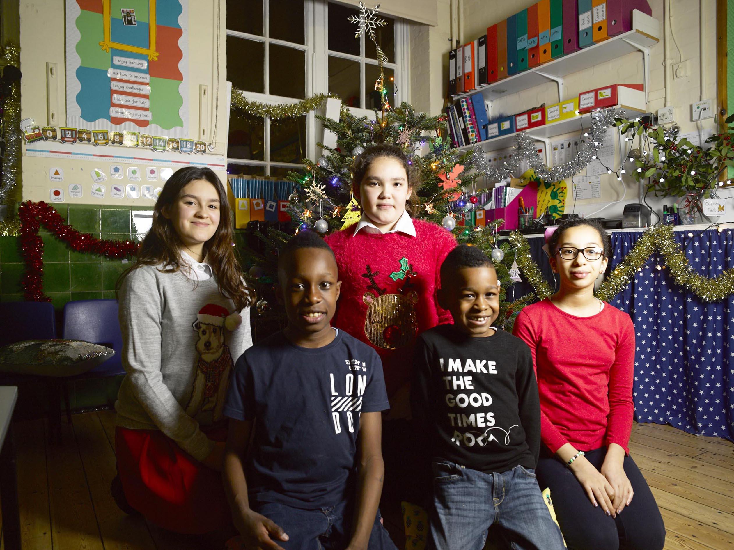 C4 Alternative Christmas Message speakers L- R Luana, Amiel, Megan, Danel and Hayam. C4 publicity still, BD