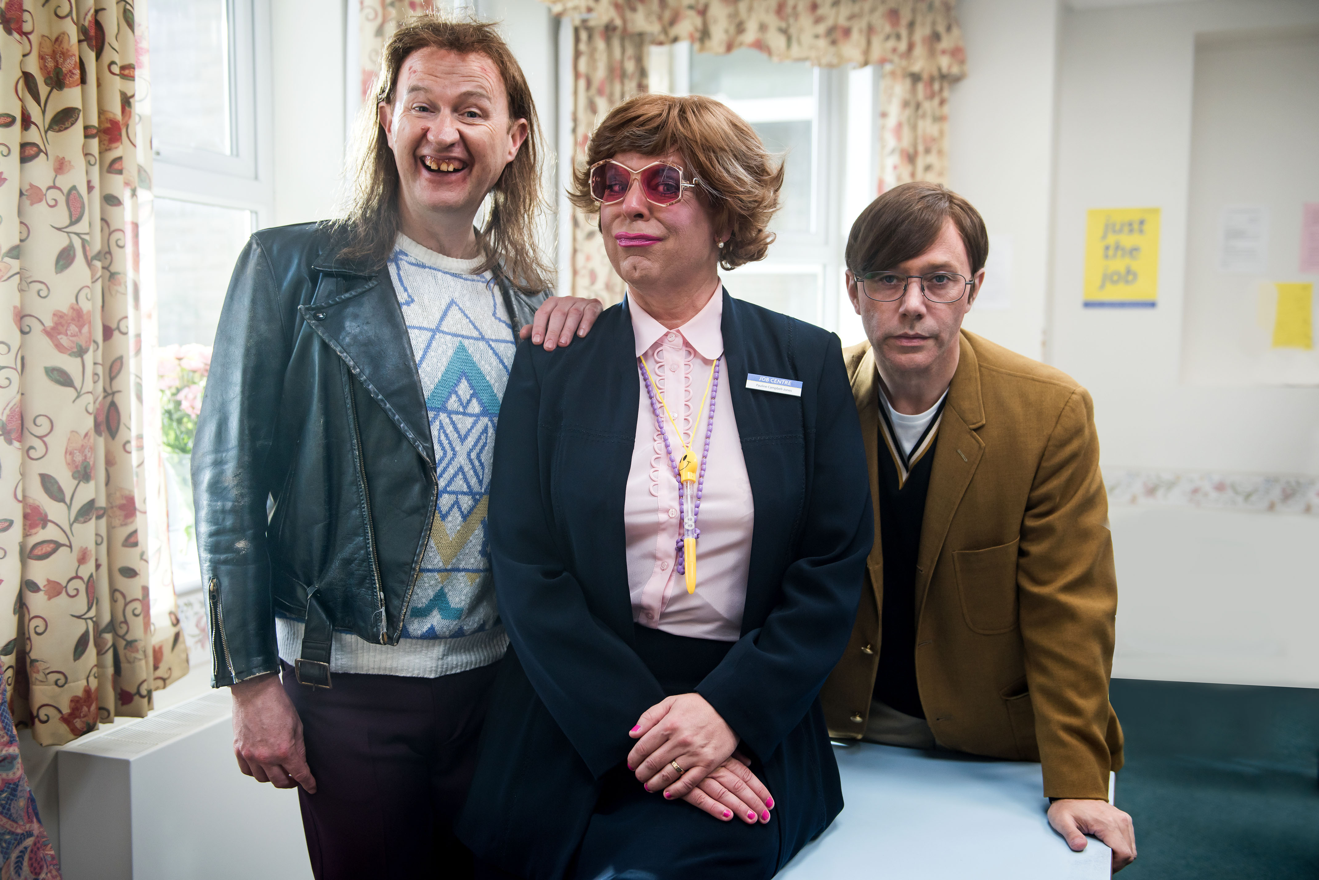 WARNING: Embargoed for publication until 00:00:01 on 06/12/2017 - Programme Name: The League of Gentlemen Anniversary Specials - TX: n/a - Episode: n/a (No. 1) - Picture Shows:  Mickey (MARK GATISS), Pauline (STEVE PEMBERTON), Ross (REECE SHEARSMITH) - (C) BBC - Photographer: James Stack
