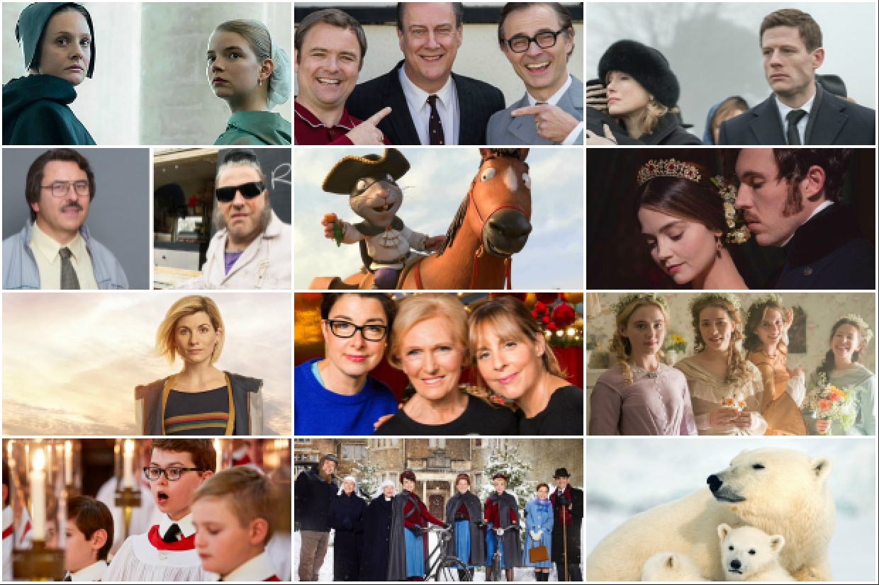12 best christmas tv collage (BBC, Sky, ITV, EH)