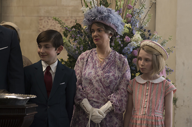 The Crown - young Prince Charles with the Queen Mother and Princess Anne