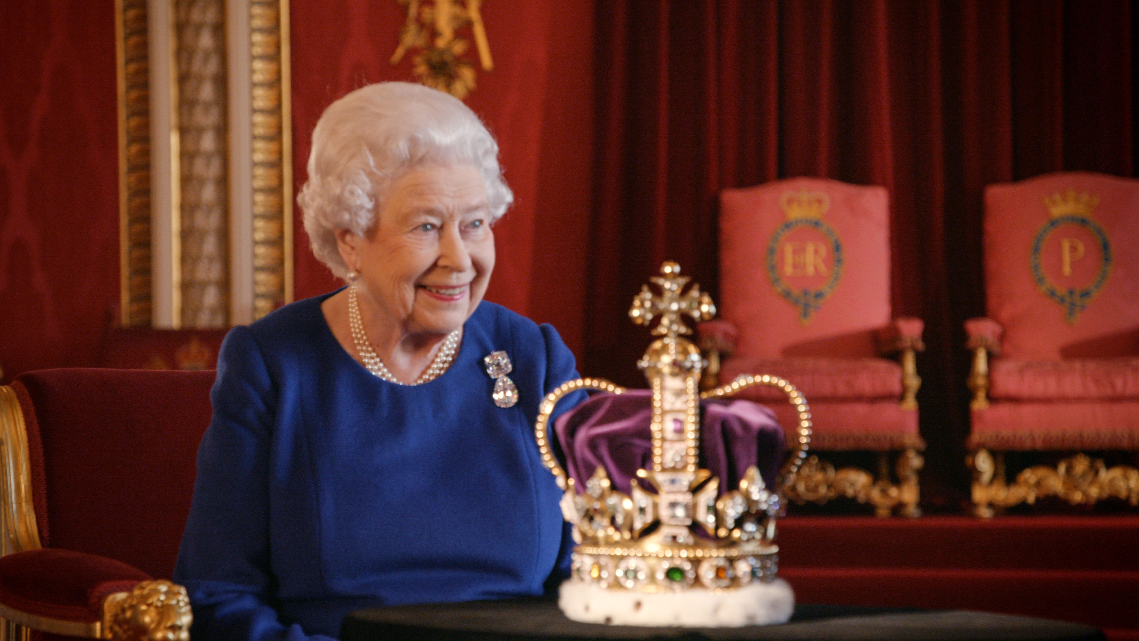 WARNING: Embargoed for publication until 00:01:00 on 03/01/2018 - Programme Name: The Coronation  - TX: n/a - Episode: n/a (No. n/a) - Picture Shows: with the St Edward's Crown.  **STRICTLY EMBARGOED NOT FOR PUBLICATION UNTIL 00.01 HOURS ON WEDNESDAY 3RD JANUARY 2018**  For single use only and only in connection with editorial about 'The Coronation' on BBC One, Smithsonian and ABC and distributed by FreMantle until 1 March 2018. Images must not be archived, edited, or sold-on. Her Majesty The Queen - (C) © Royal Collection Trust/ Her Majesty Queen Elizabeth II 2018 - Photographer: Screengrab