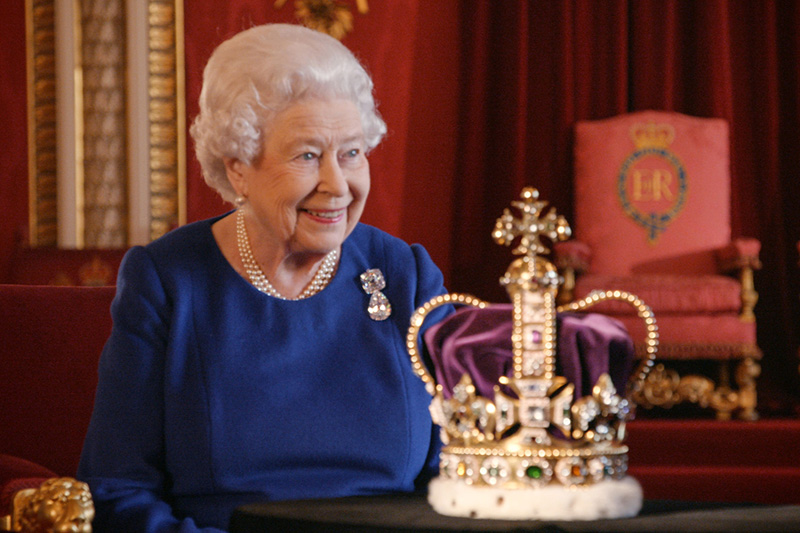 Queen Elizabeth II with the St Edward's Crown in The Coronation (BBC, HF)