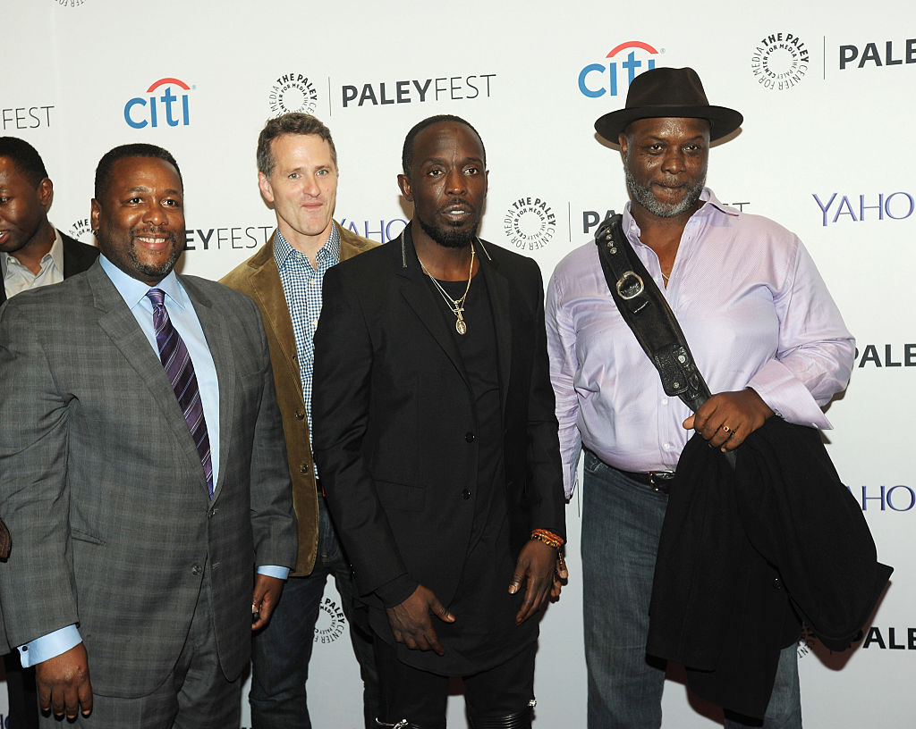"NEW YORK, NY - OCTOBER 16:  Wendell Pierce, Bob Wisdom, Jim True-Frost and Michael Kenneth Williams attends the 2nd Annual Paleyfest New York Presents: ""The Wire"" Reunion at Paley Center For Media on October 16, 2014 in New York, New York.  (Photo by Bobby Bank/FilmMagic)"