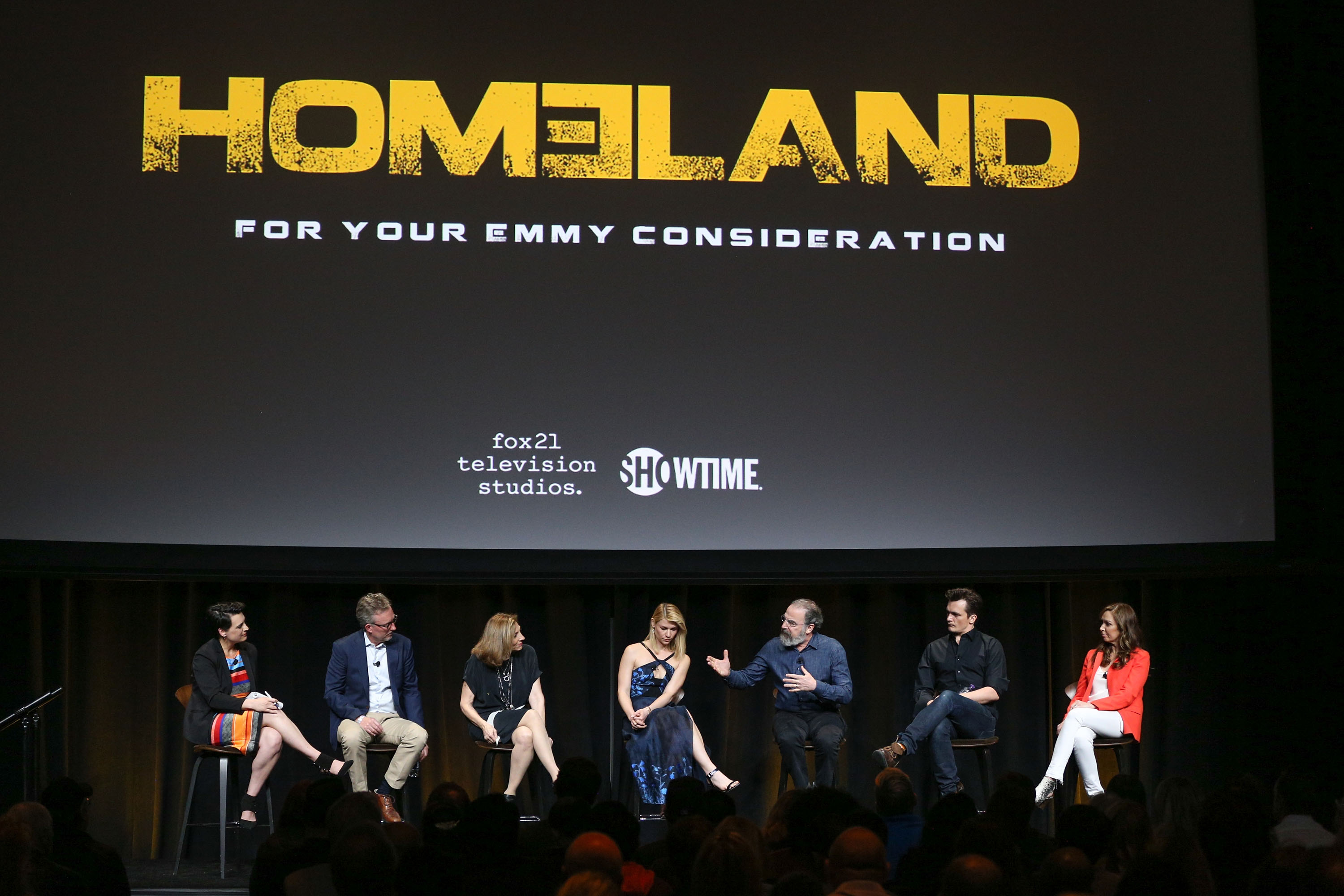 "LOS ANGELES, CA - APRIL 03:  (L-R) Moderator Stacy Wilson Hunt, executive producer/co-creator/showrunner Alex Gansa, executive producer/ director Lesli Linka Glatter, actress Claire Danes, actor Mandy Patinkin, actor Rupert Friend and actress Elizabeth Marvel attend the ATAS Emmy screening of Showtime's ""Homeland"" at NeueHouse Hollywood on April 3, 2017 in Los Angeles, California.  (Photo by Rich Fury/Getty Images)"