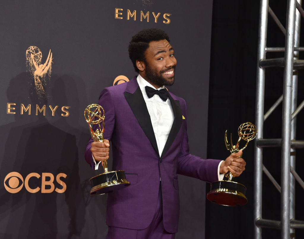 LOS ANGELES, CA - SEPTEMBER 17:  Actor Donald Glover, winner of the award for Outstanding Lead Actor in a Comedy Series for 'Atlanta,' poses in the press room during the 69th Annual Primetime Emmy Awards at Microsoft Theater on September 17, 2017 in Los Angeles, California.  (Photo by Alberto E. Rodriguez/Getty Images, BA)