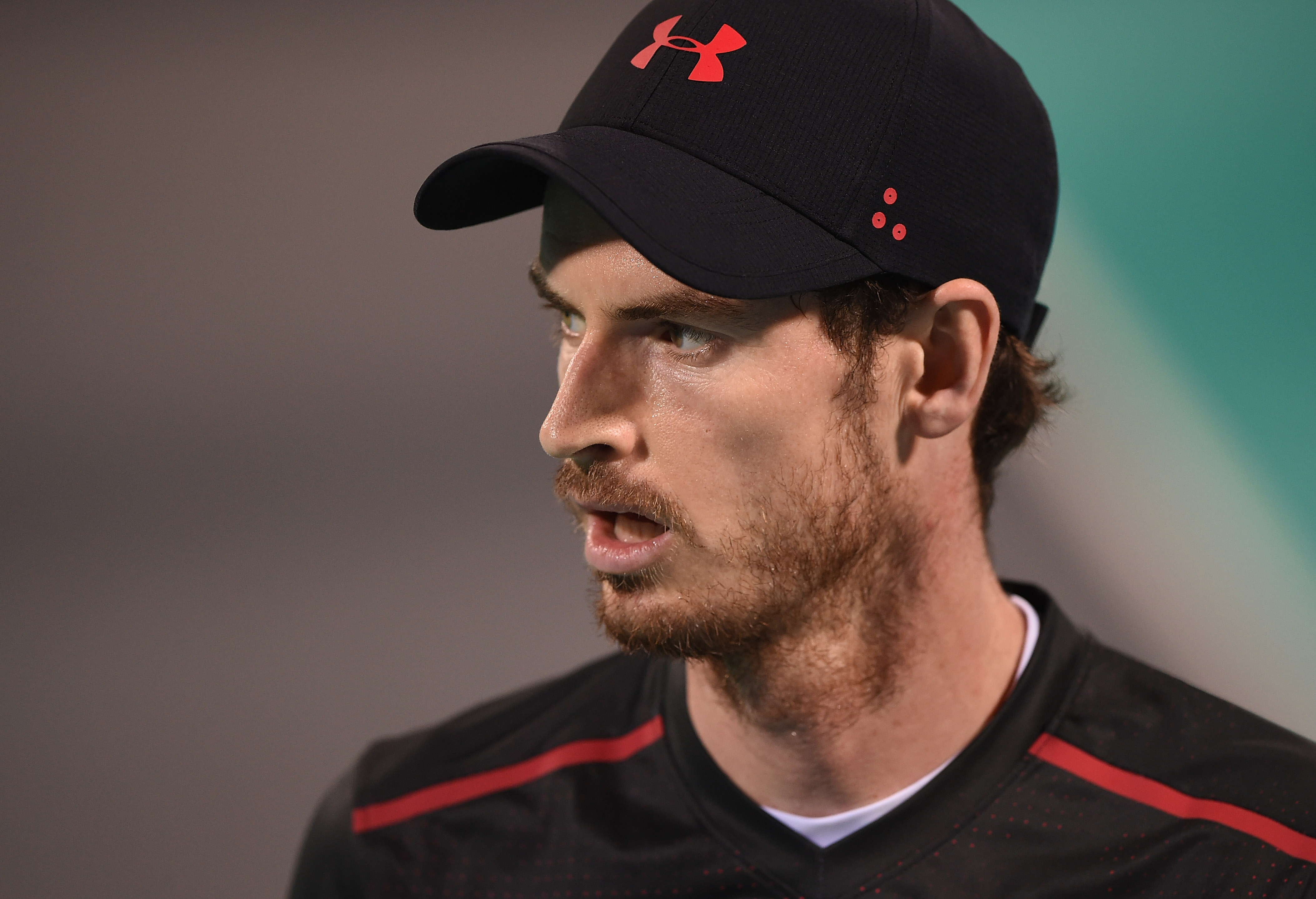 ABU DHABI, UNITED ARAB EMIRATES - DECEMBER 29: Andy Murray of Great Britain looks on during his exhibition match against Roberto Bautista Agut of Spain on day two of the Mubadala World Tennis Championship at International Tennis Centre Zayed Sports City on December 29, 2017 in Abu Dhabi, United Arab Emirates.  (Photo by Tom Dulat/Getty Images) Getty TL