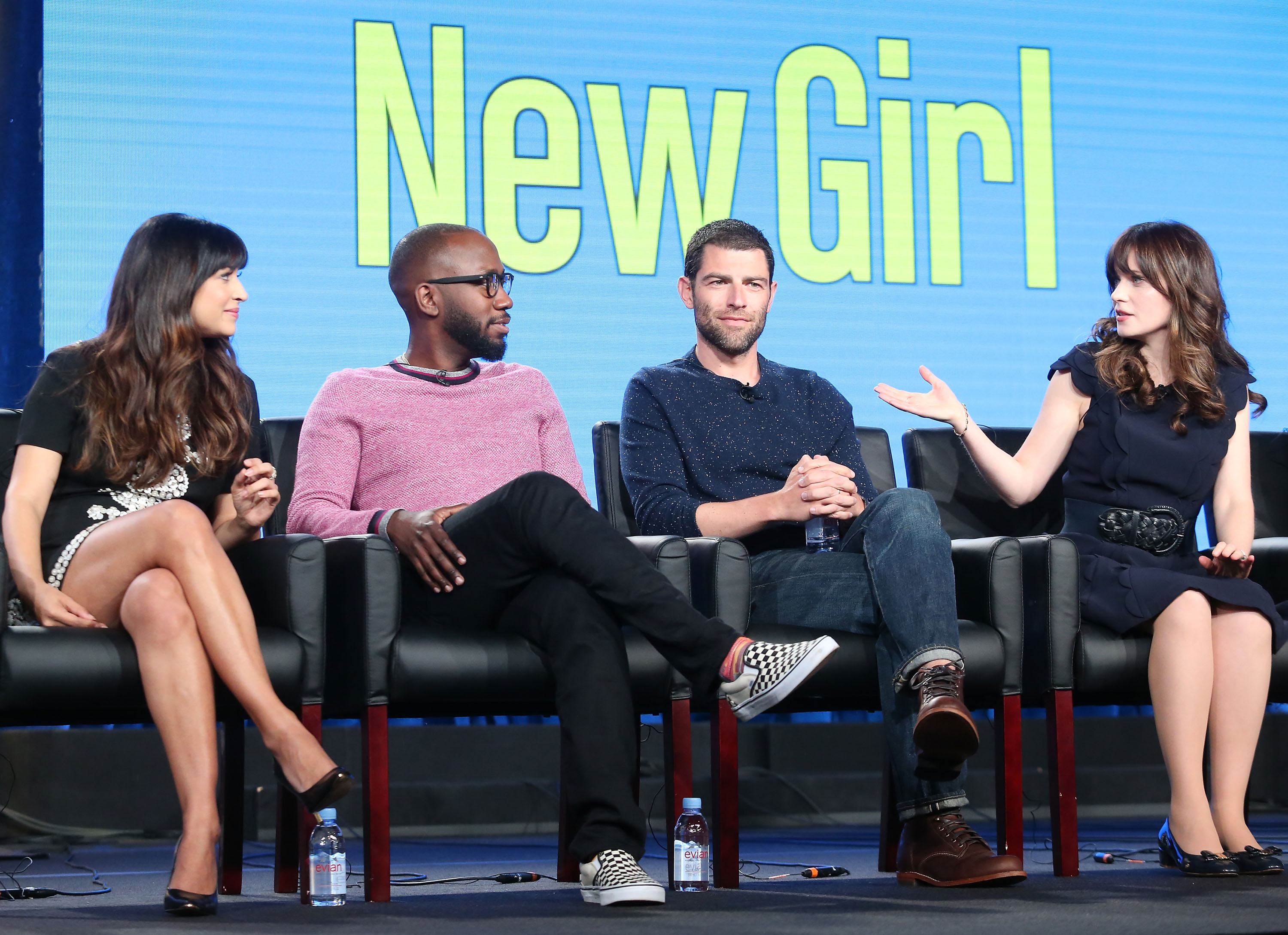 PASADENA, CA - JANUARY 04:  (L-R) Actors Hannah Simone, Lamorne Morris, Max Greenfield and Zooey Deschanel of the television show New Girl speaks onstage during the FOX portion of the 2018 Winter Television Critics Association Press Tour at The Langham Huntington, Pasadena on January 4, 2018 in Pasadena, California.  (Photo by Frederick M. Brown/Getty Images)