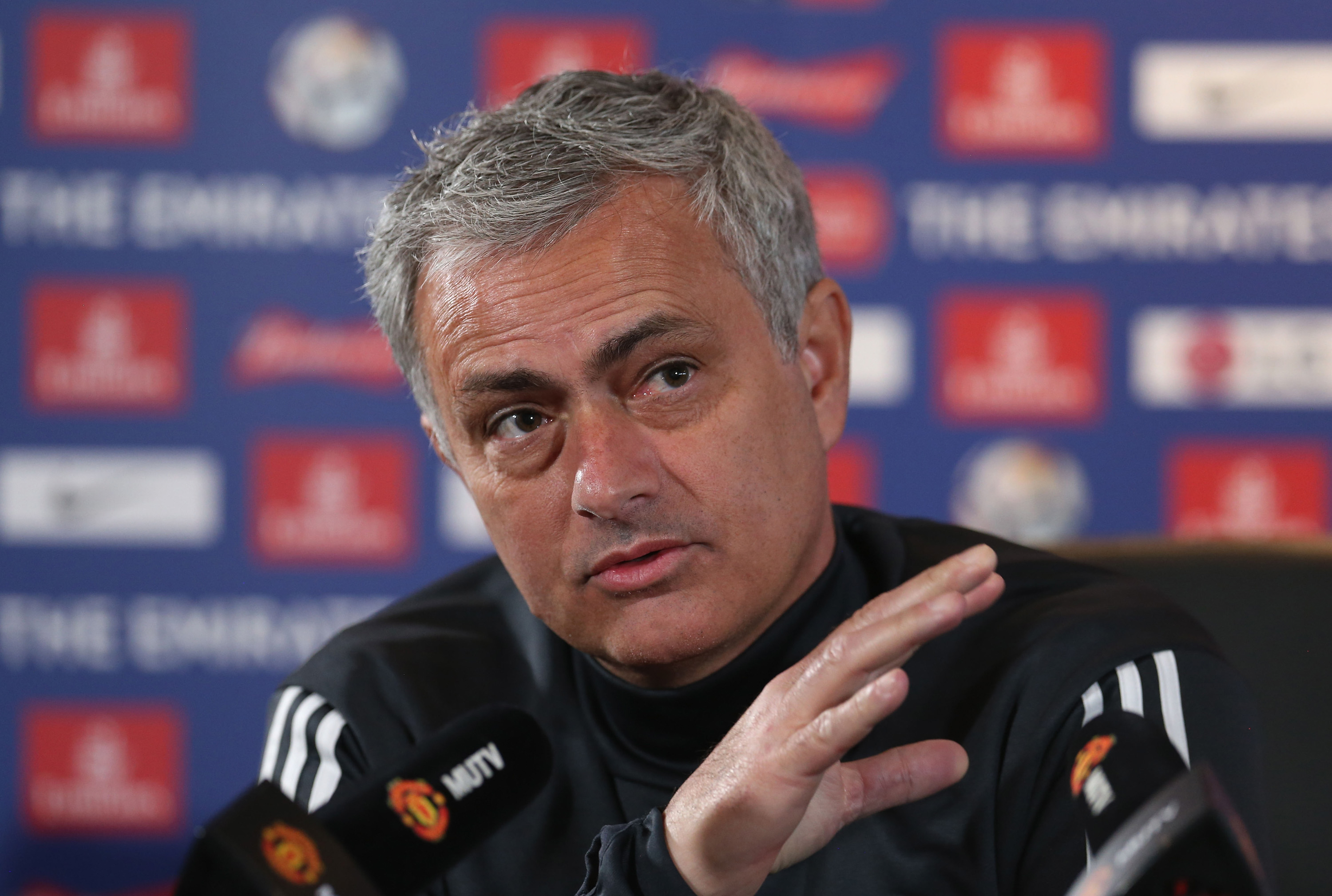 MANCHESTER, ENGLAND - JANUARY 25:  (EXCLUSIVE COVERAGE) Manager Jose Mourinho of Manchester United speaks during a press conference at Aon Training Complex on January 25, 2018 in Manchester, England.  (Photo by Matthew Peters/Man Utd via Getty Images)  Getty, TL