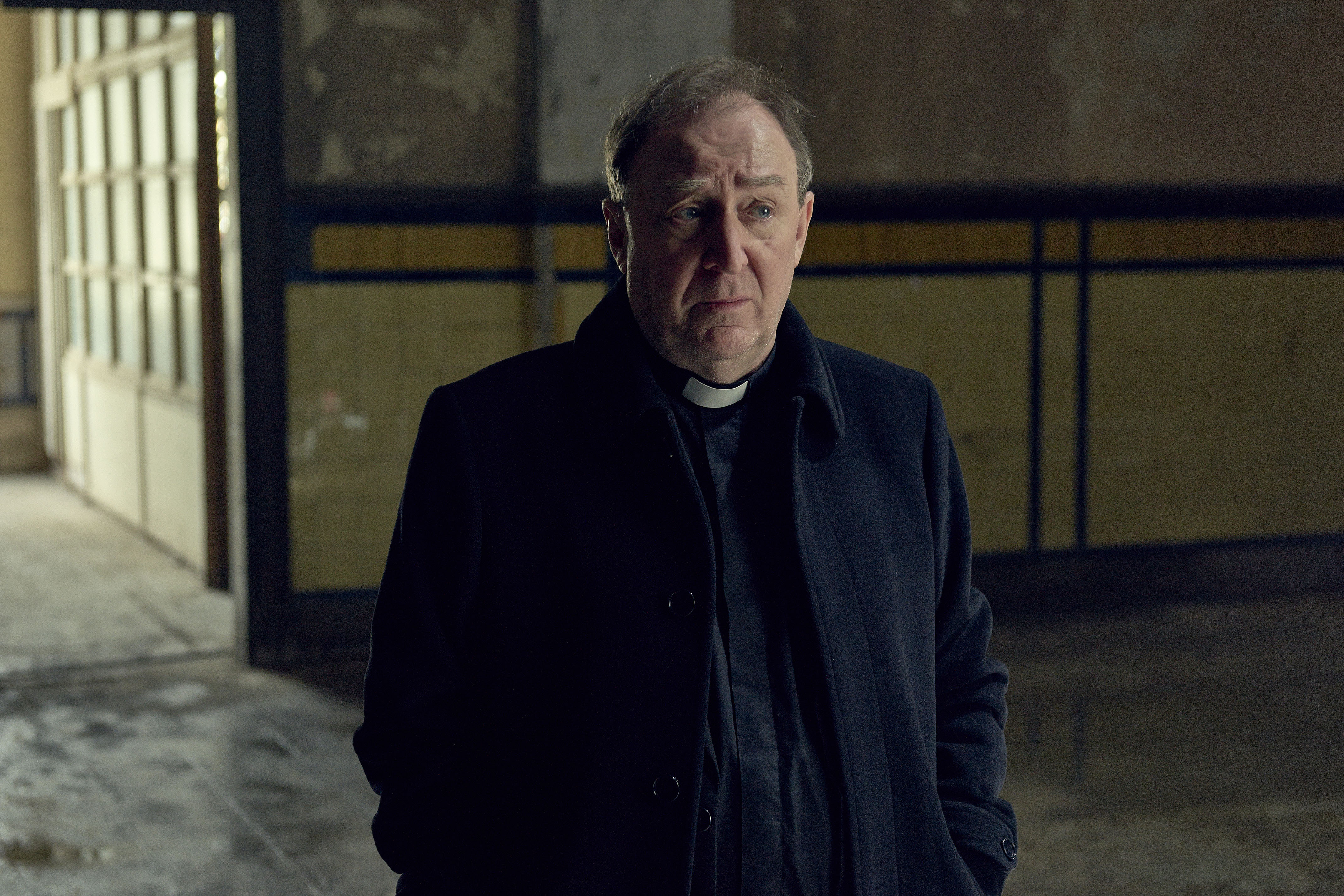 WARNING: Embargoed for publication until 00:00:01 on 16/01/2018 - Programme Name: Hard Sun - TX: n/a - Episode: n/a (No. 3) - Picture Shows: ***EMBARGOED UNTIL 16th JAN 2018*** Father Dennis Chapman (DERMOT CROWLEY) - (C) Euston Films - Photographer: Hal Shinnie