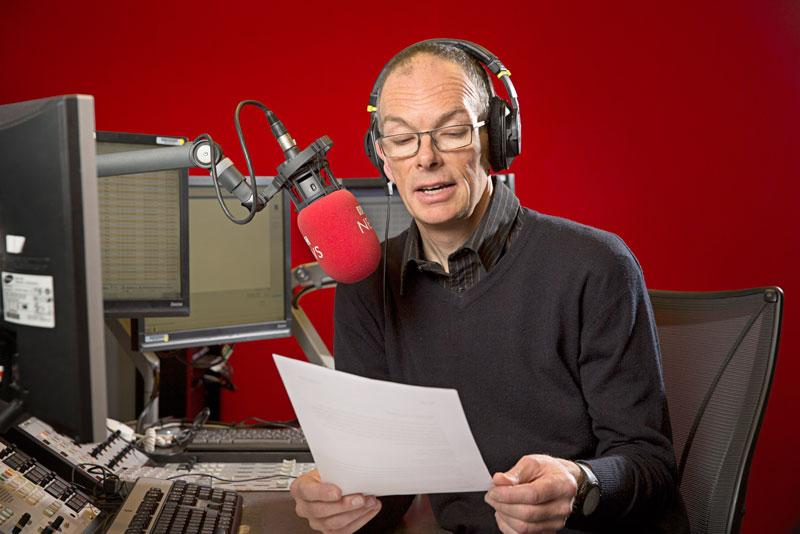 TL, Chris Aldridge radio news reader shoot 2018 BBC Radio 4 studios, Old Broadcasting House, London – Radio Times shoot