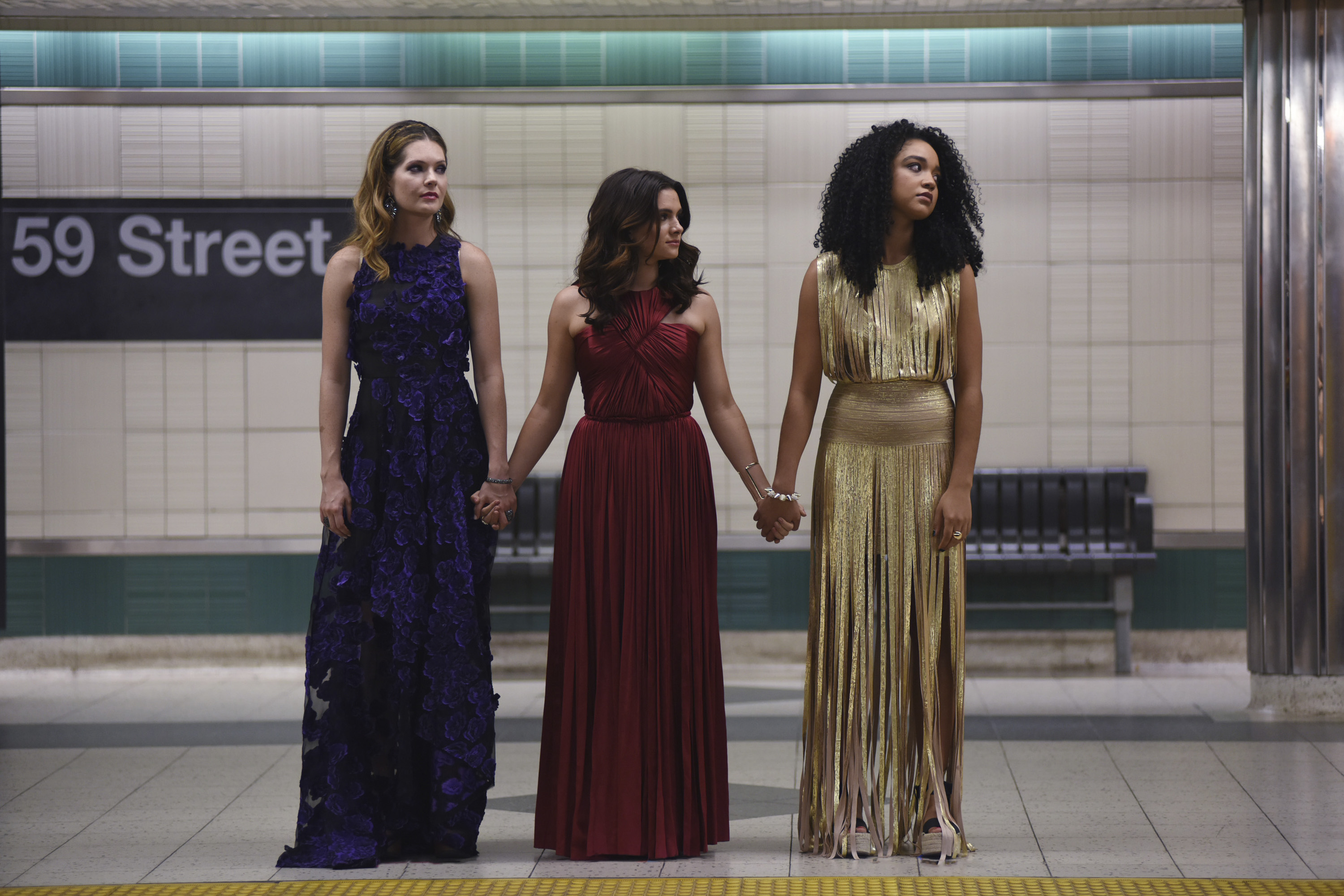"""THE BOLD TYPE -- """"Pilot"""" -- Pictured: (l-r) Meghann Fahy as Sutton, Katie Stevens as Jane, Aisha Dee as Kat -- (Photo by: John Medland/Freeform/Universal Television)"""