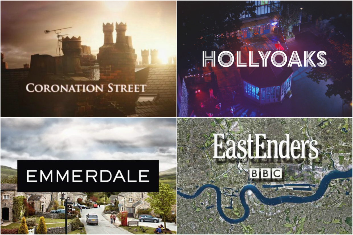 Coronation Street, Emmerdale, EastEnders and Hollyoaks opening titles