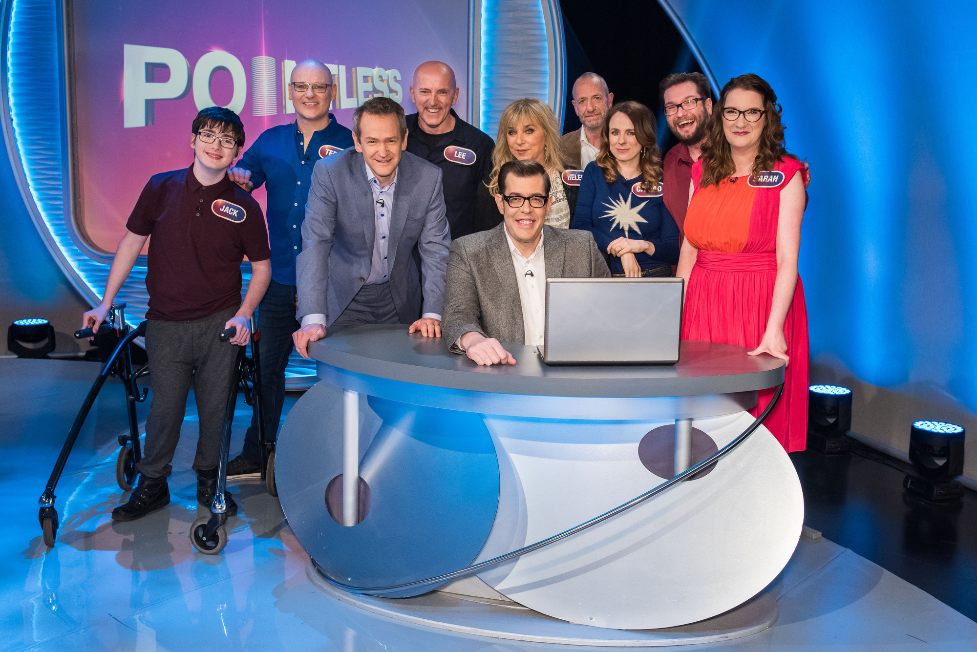 Programme Name: Pointless Celebrities - TX: 10/02/2018 - Episode: Comedians 2 (No. n/a) - Picture Shows: (L-R) Jack Carroll, Terry Alderton, Alexander Armstrong, Lee Hurst, Richard Osman, Helen Lederer, Arthur Smith, Cariad Lloyd, Gary Delaney, Sarah Millican - (C) Endemol Shine Group - Photographer: Mark Yeoman