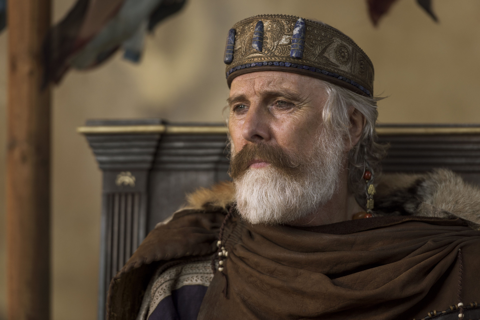 Programme Name: Troy - Fall of a City - TX: n/a - Episode: Troy - Fall of a City episode 1 (No. 1) - Picture Shows: Priam (DAVID THRELFALL) - (C) Wild Mercury Productions - Photographer: Graham Bartholomew BBC, TL