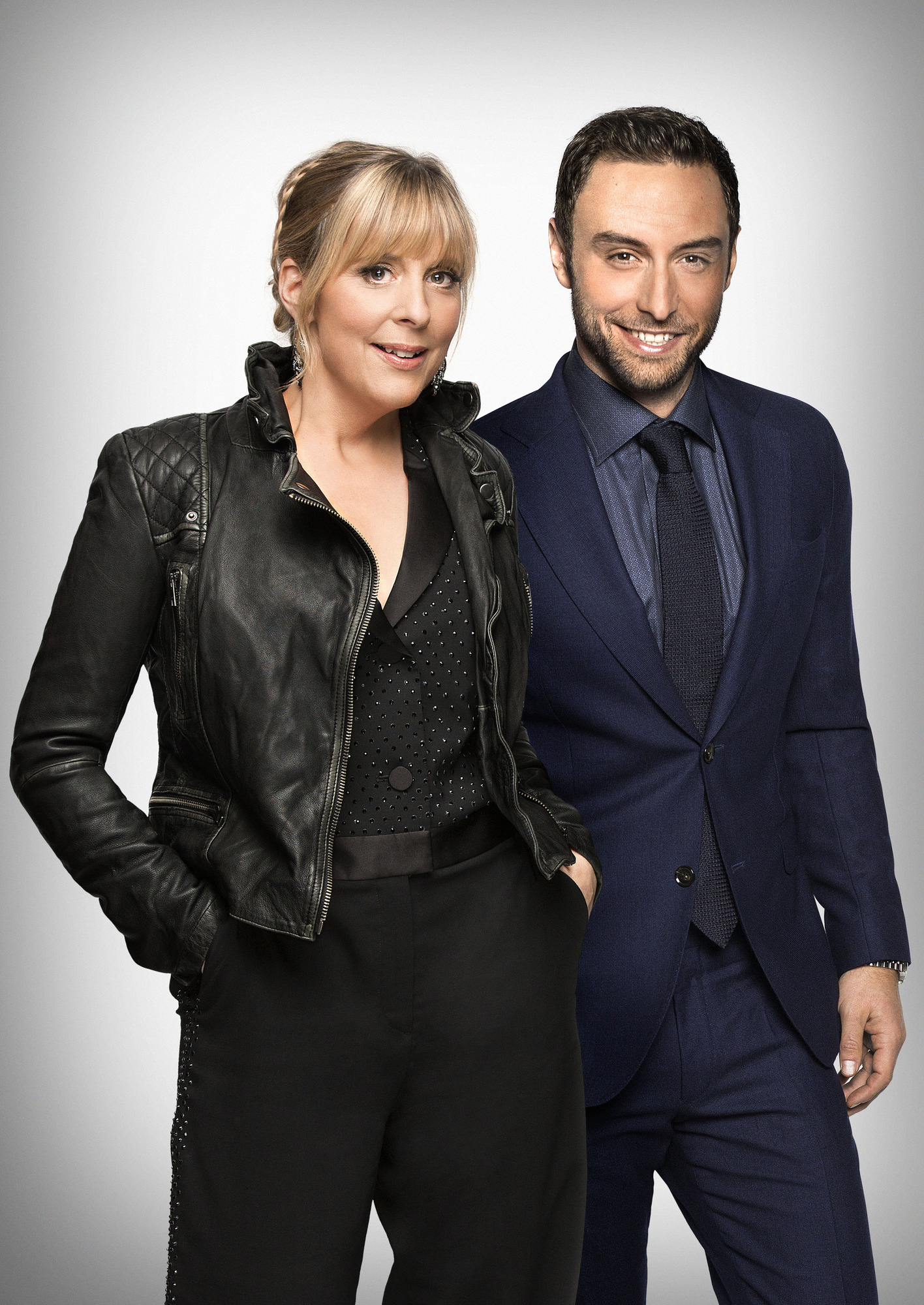 Programme Name: Eurovision: You Decide 2018 - TX: n/a - Episode: Eurovision: You Decide 2018 (No. n/a) - Picture Shows: **EMBARGOED FOR PUBLICATION UNTIL 00:01 HRS ON WEDNESDAY 24TH JANUARY 2018** Mans Zelmerlow, Mel Giedroyc - (C) BBC - Photographer: Guy Levy/Joel Anderson  BBC, TL