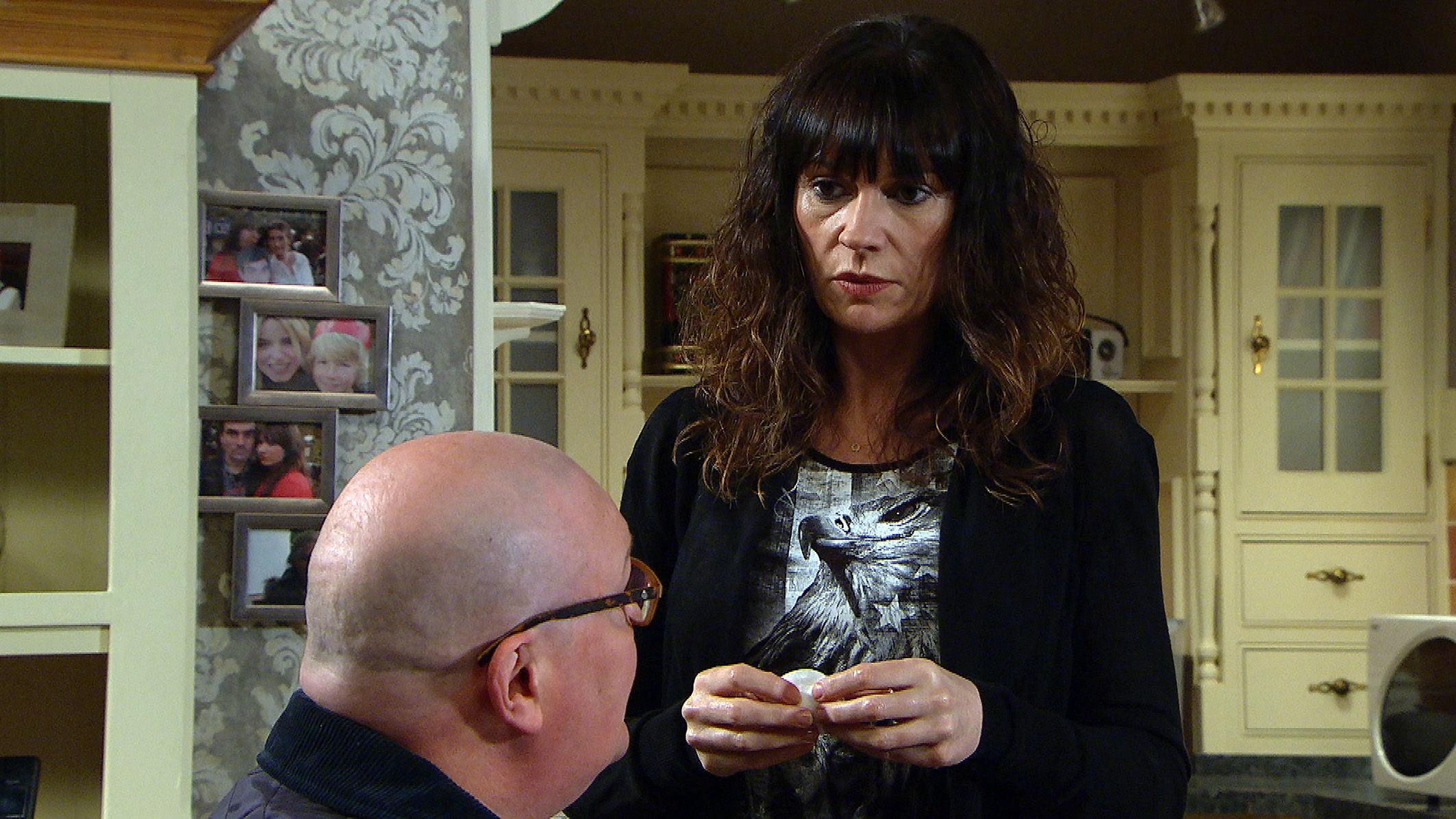 FROM ITV   STRICT EMBARGO  Print media - No Use Before Tuesday 20th February 2018 Online Media -  No Use Before 0700hrs Tuesday 20th February 2018  Emmerdale - Ep 8080  Monday 26th February 2018   Hungover Paddy Kirk [DOMINIC BRUNT] wakes up and is awkward after over hearing Chas Dingle [LUCY PARGETTER] discuss being pregnant with Faith the night before. Chas is relieved and shocked when Paddy tells her he knows sheÕs pregnant and both him and Chas agree that having an abortion is the best option.  Picture contact - david.crook@itv.com  This photograph is (C) ITV Plc and can only be reproduced for editorial purposes directly in connection with the programme or event mentioned above, or ITV plc. Once made available by ITV plc Picture Desk, this photograph can be reproduced once only up until the transmission [TX] date and no reproduction fee will be charged. Any subsequent usage may incur a fee. This photograph must not be manipulated [excluding basic cropping] in a manner which alters the visual appearance of the person photographed deemed detrimental or inappropriate by ITV plc Picture Desk. This photograph must not be syndicated to any other company, publication or website, or permanently archived, without the express written permission of ITV Plc Picture Desk. Full Terms and conditions are available on the website www.itvpictures.com